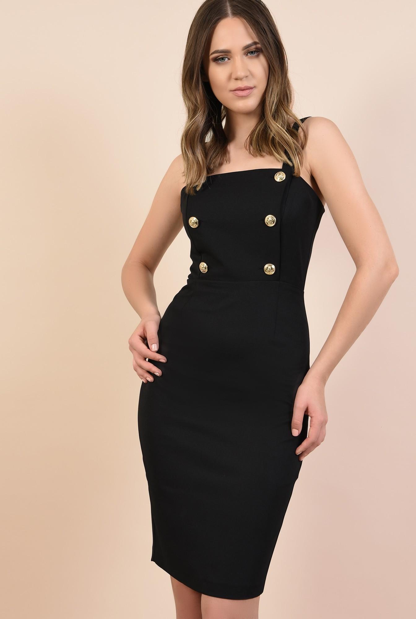 rochie de ocazie, neagra, midi, croi conic, nasturi aurii, Poema