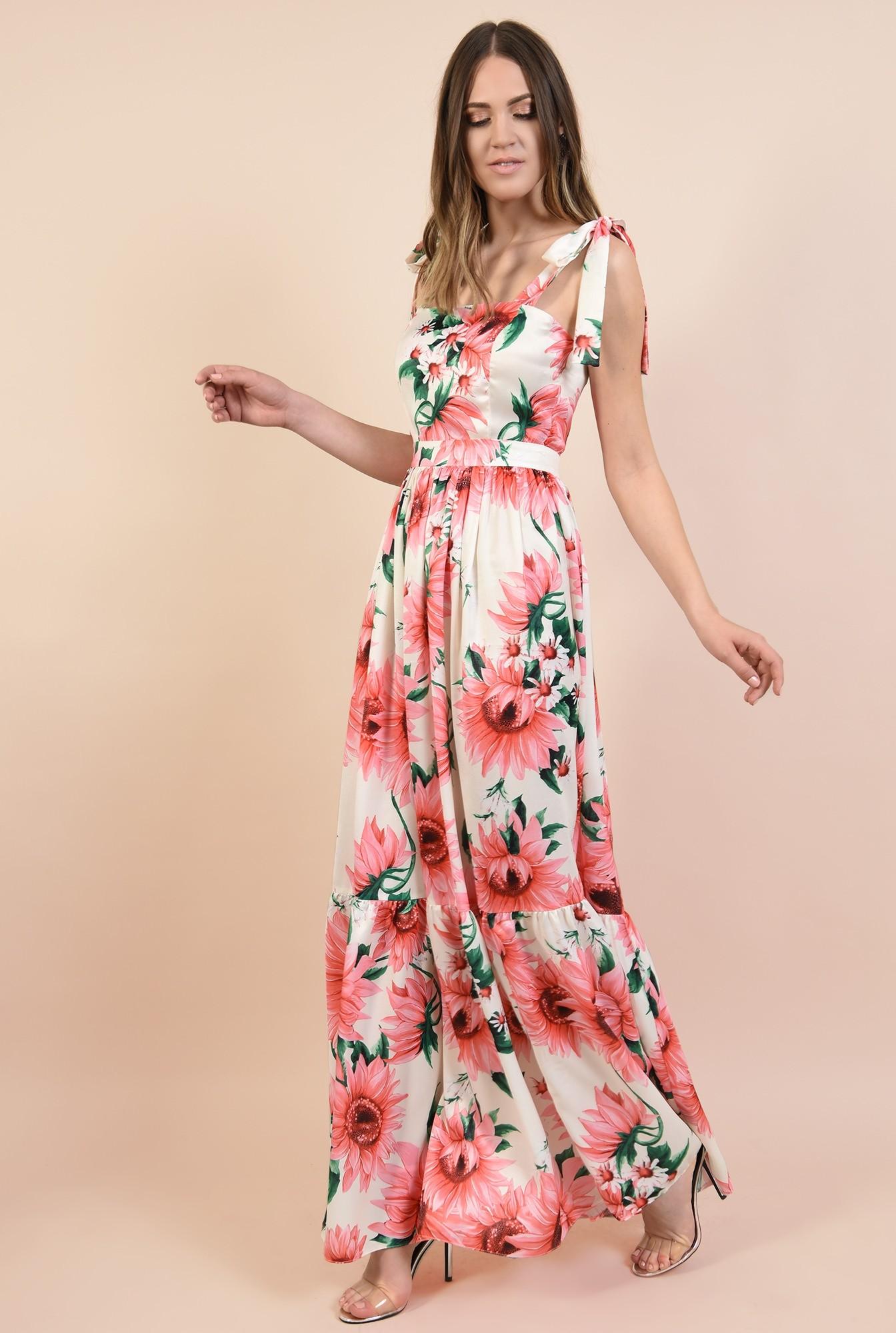 360 - rochie eleganta, lunga, din satin, cu flori, bretele cu funda