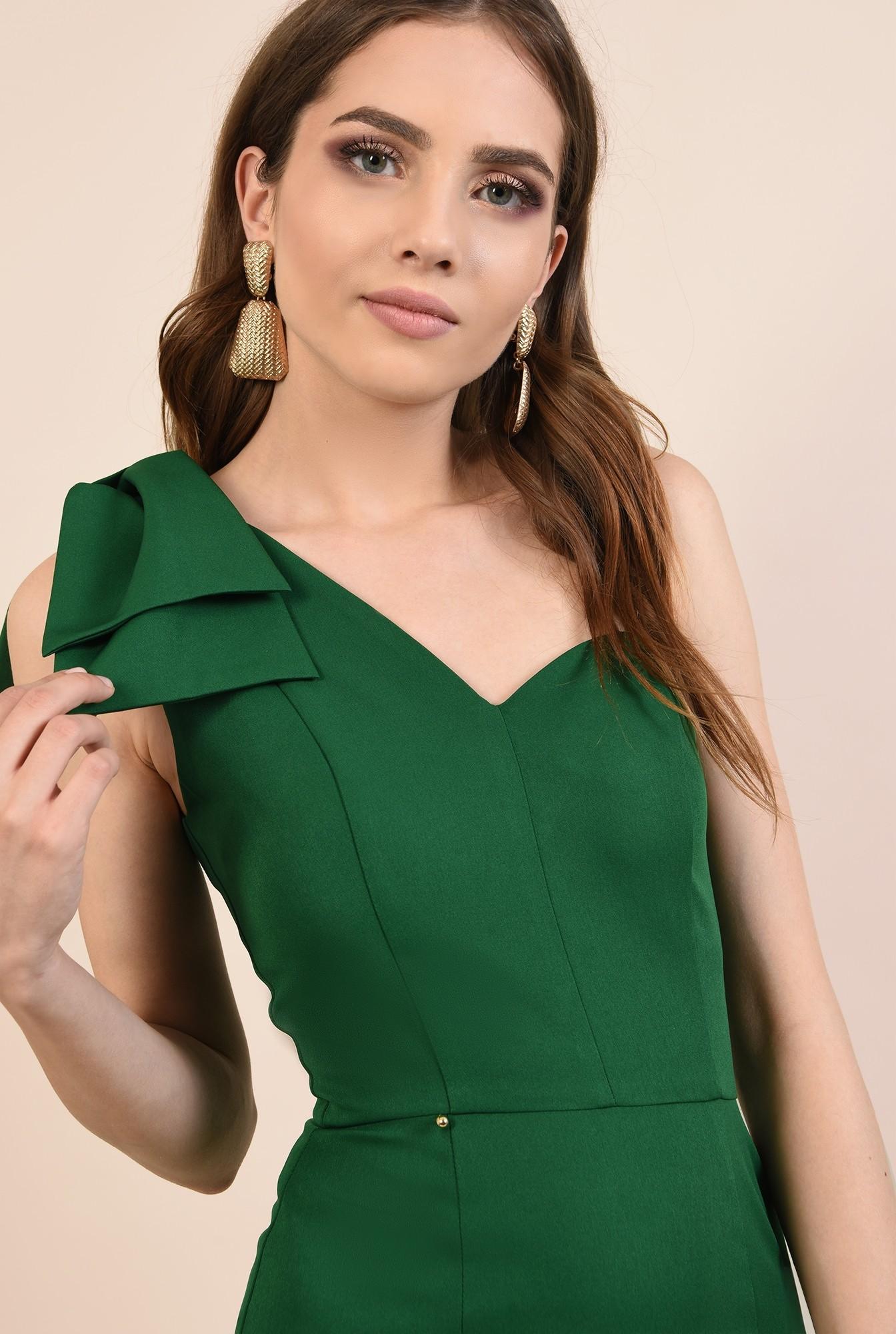 rochie de ocazie, verde, clepsidra, funde la umar, rochii elegante online