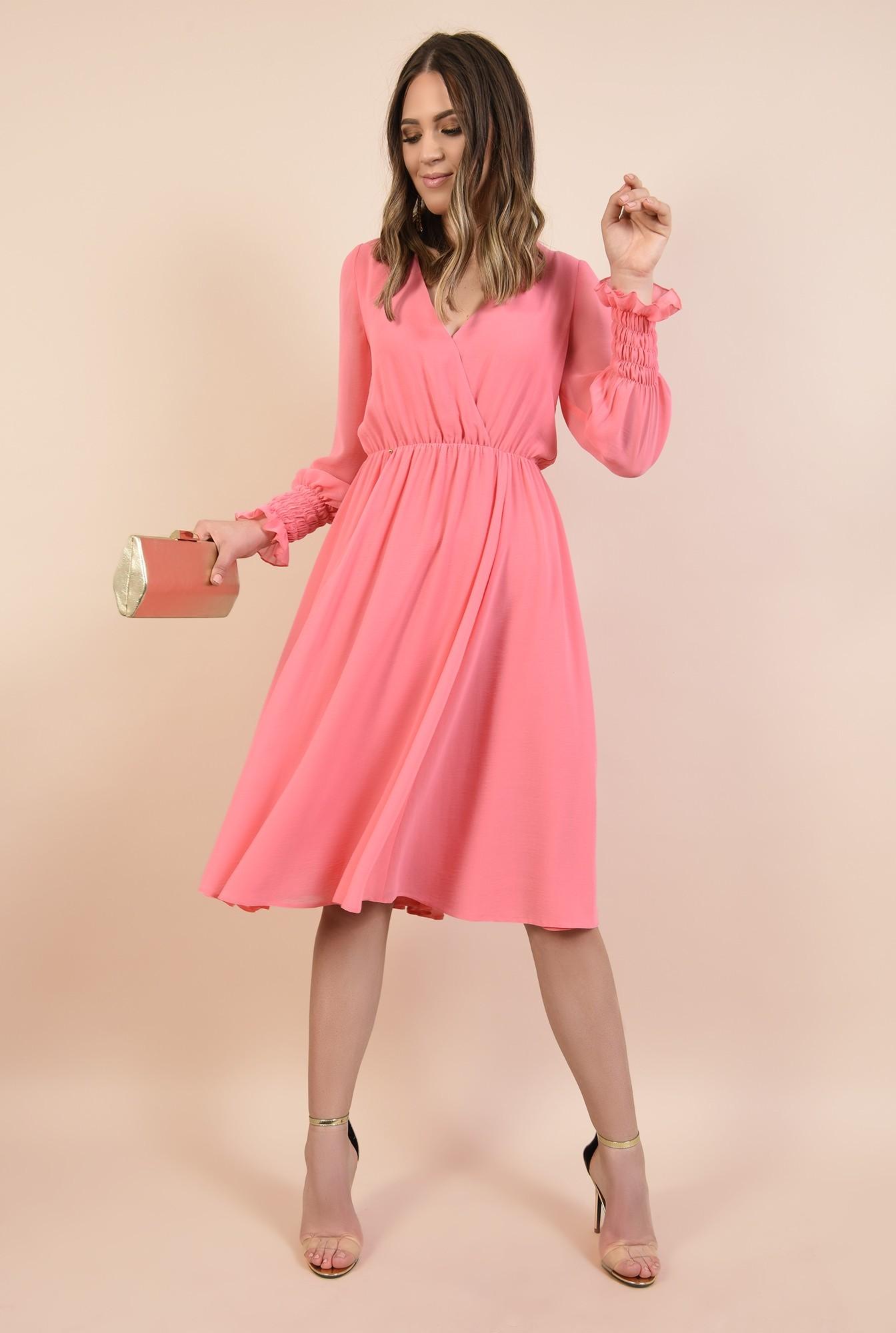 360 - rochie roz, midi, evazata, maneci lungi cu mansete elastice, Poema