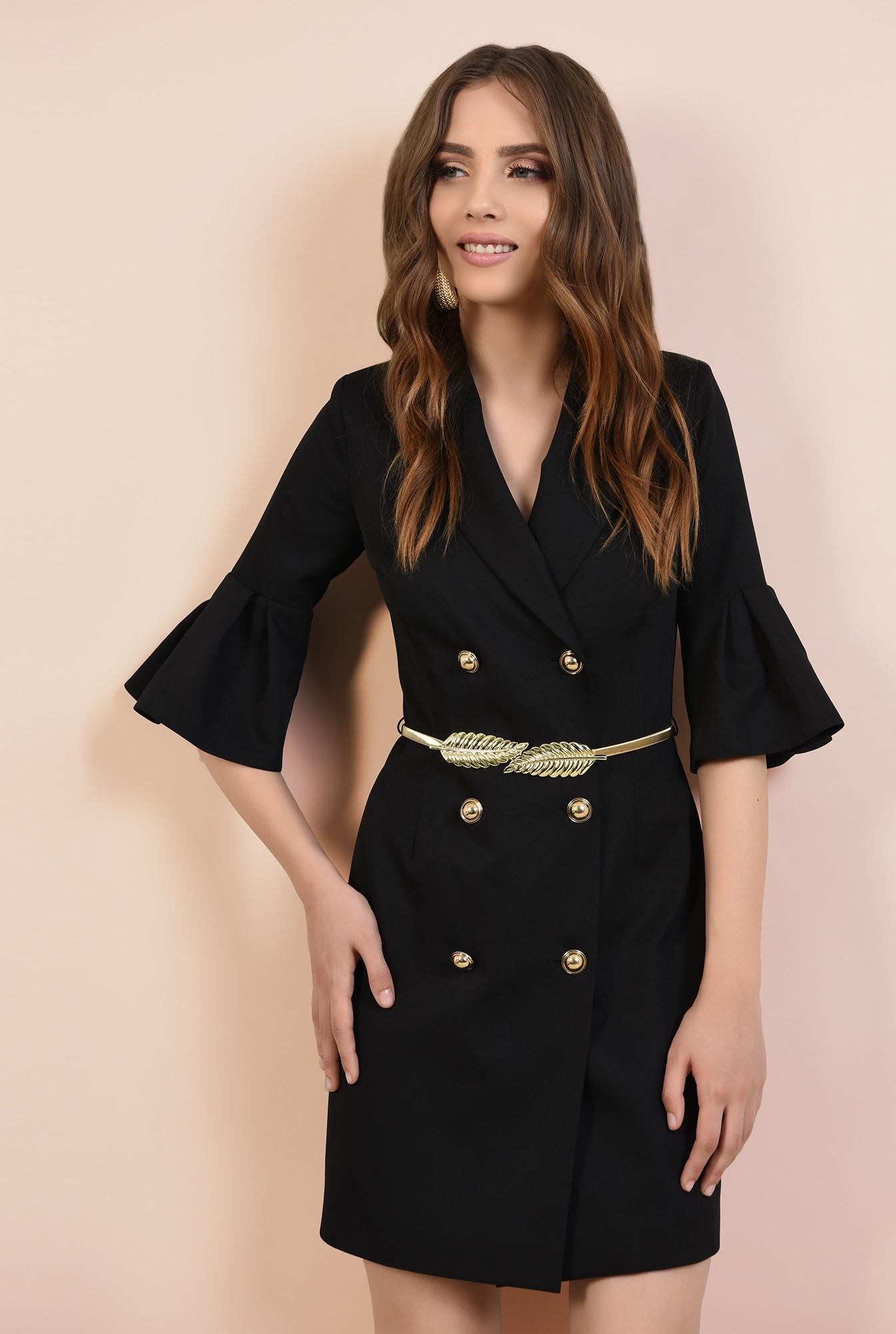 rochie de seara, mini, neagra, maneci peplum, revere crestate