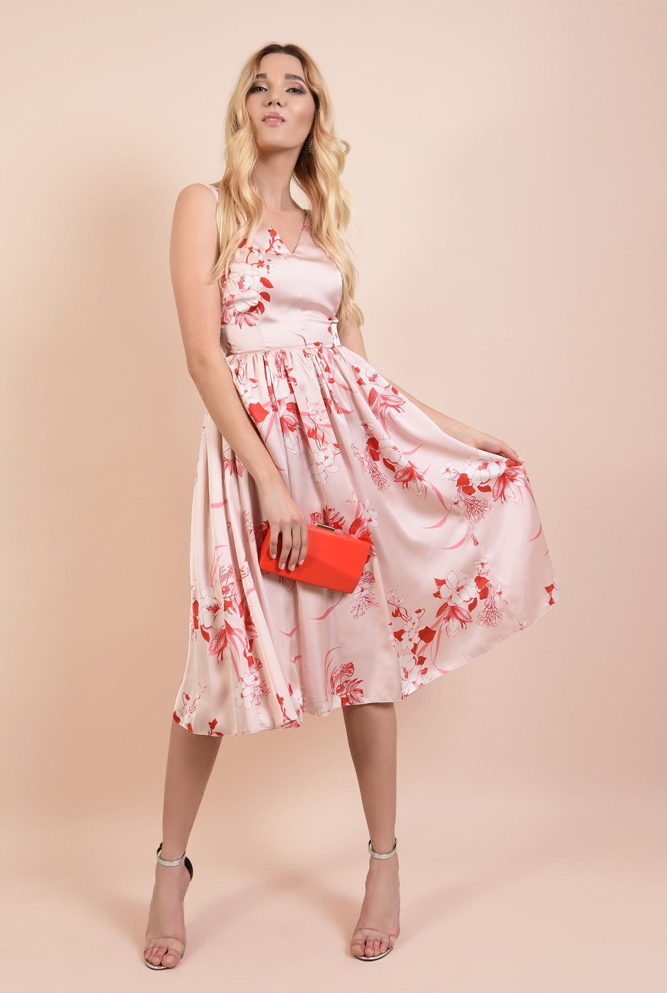 360 - rochie midi, eleganta, clos, cu imprimeu floral, anchior