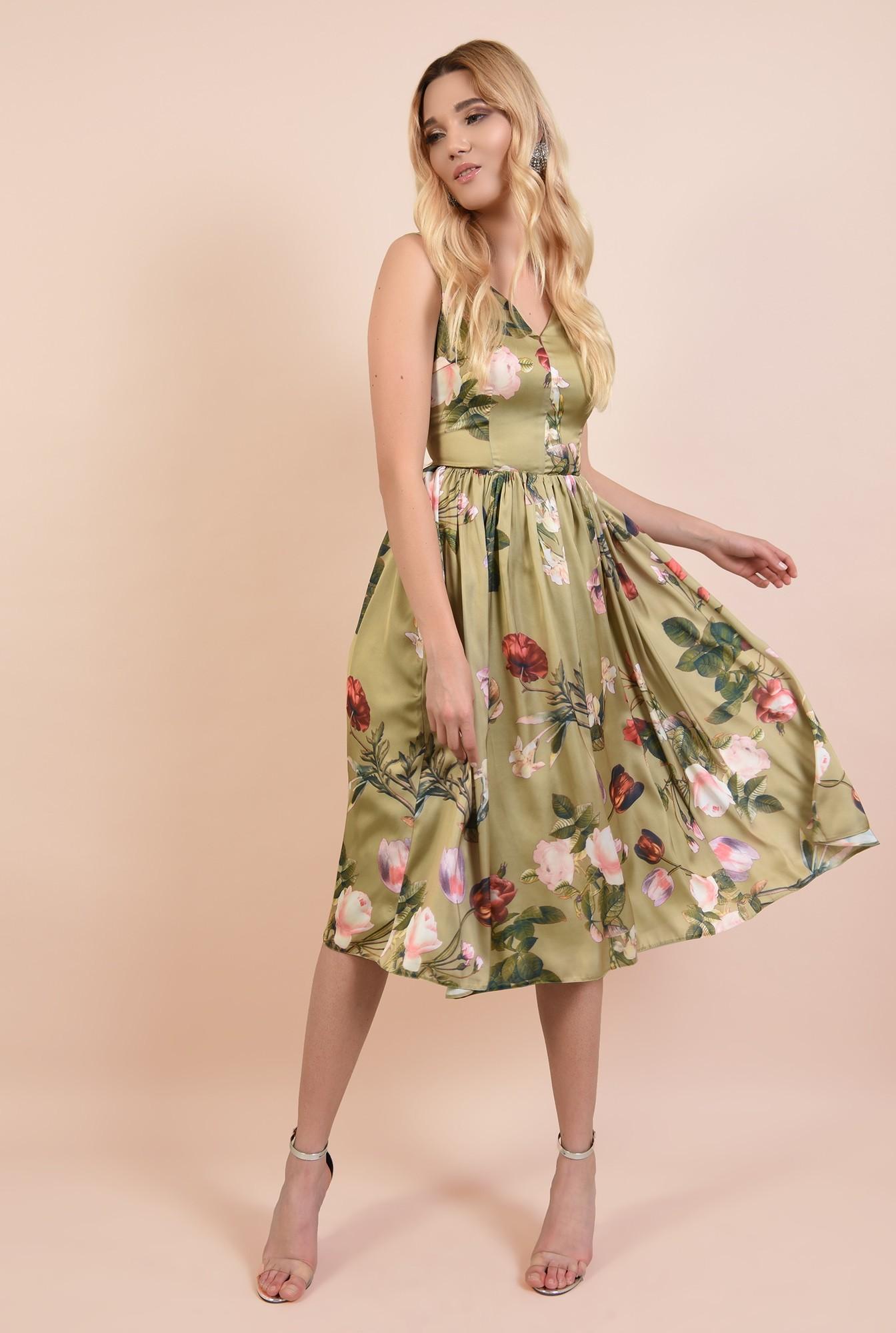 360 - rochie eleganta, midi, cu imprimeu floral, anchior fata si spate, Poema