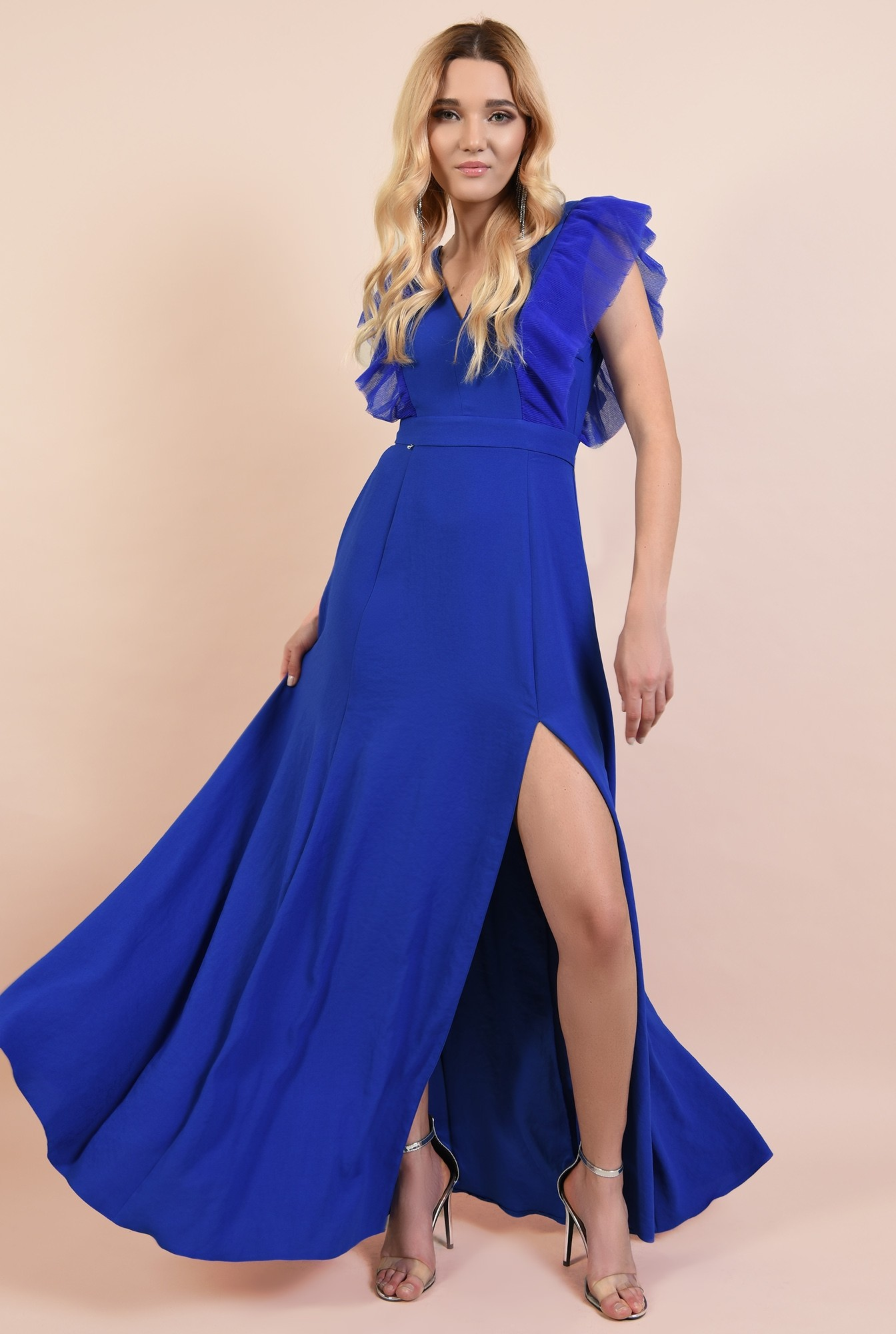 rochie eleganta, lunga, cu anchior, slit, funda la spate