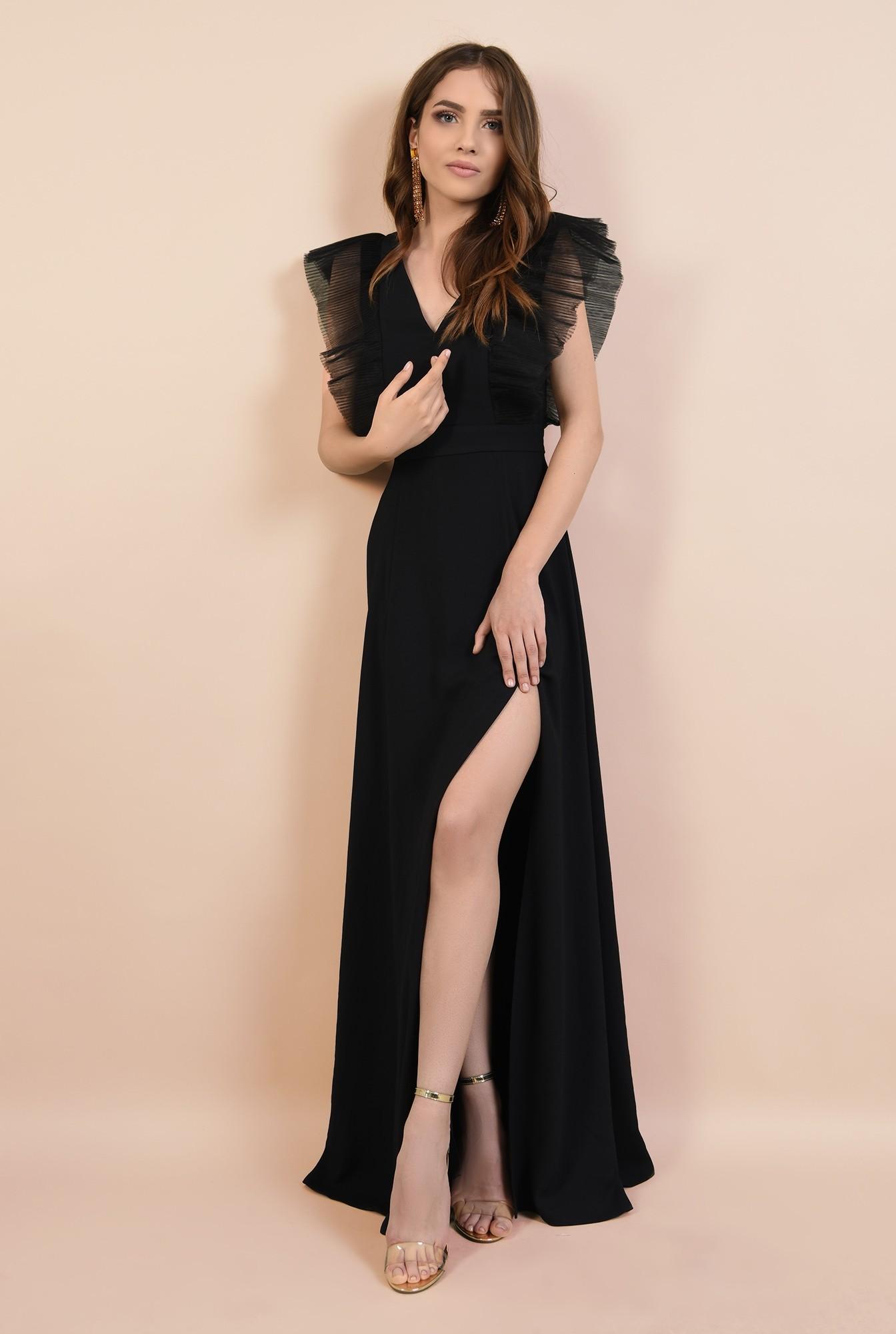 rochie de ocazie, neagra, lunga, cu volane din tul, Poema, slit adanc