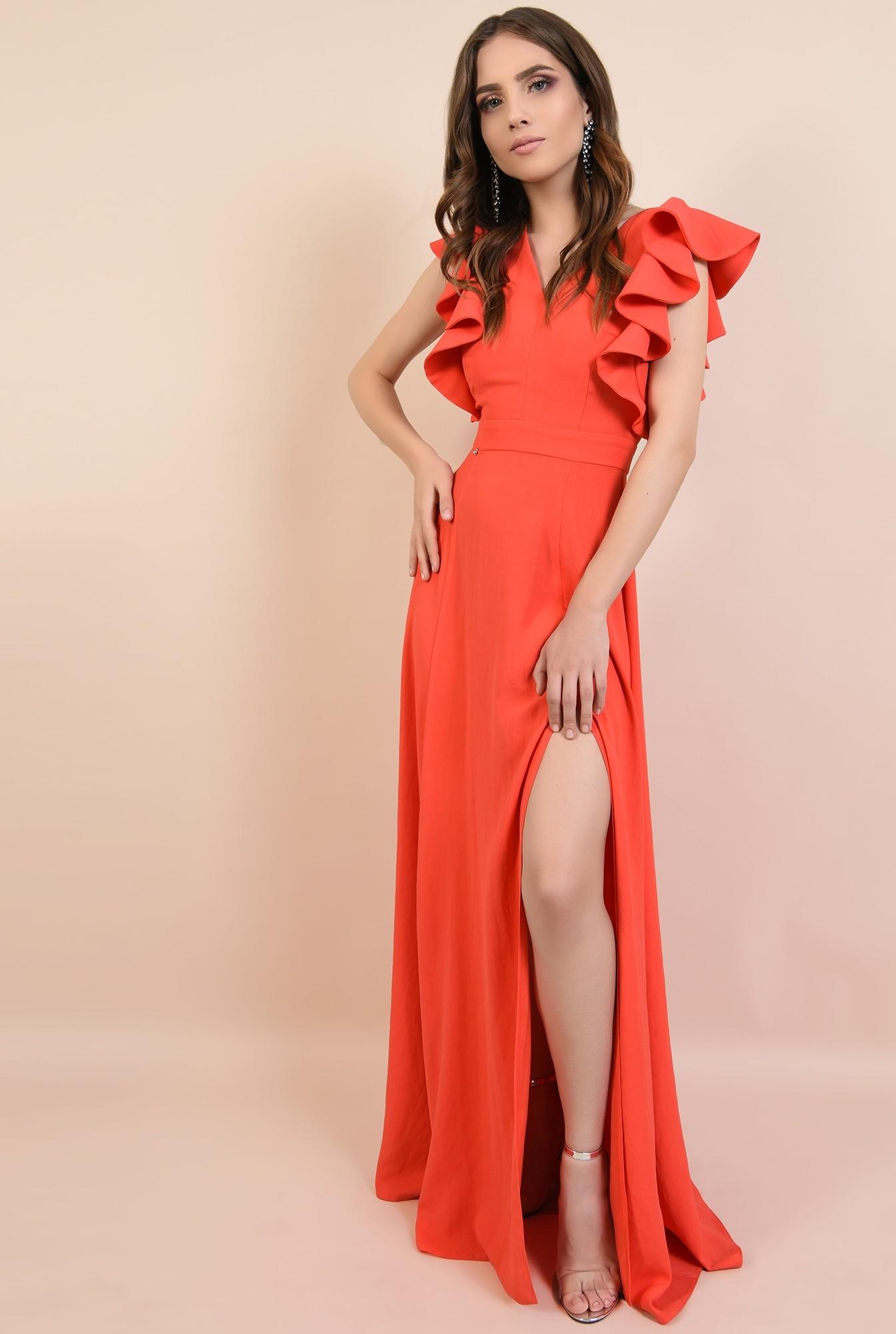 rochie lunga, rosie, cu crapeu, cu volane la maneci, Poema