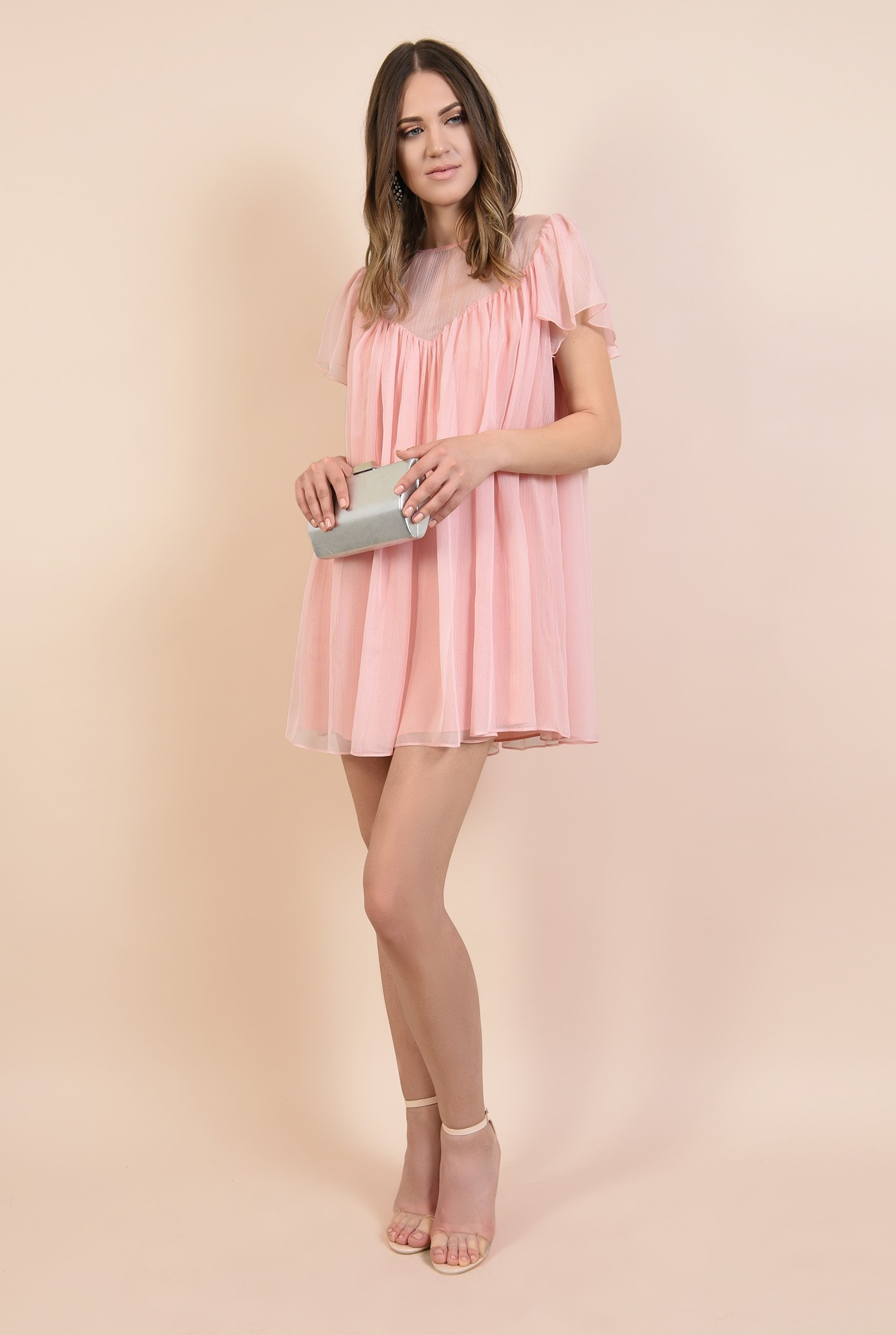 360 - rochie eleganta, din voal creponat, roz, mini, babydoll