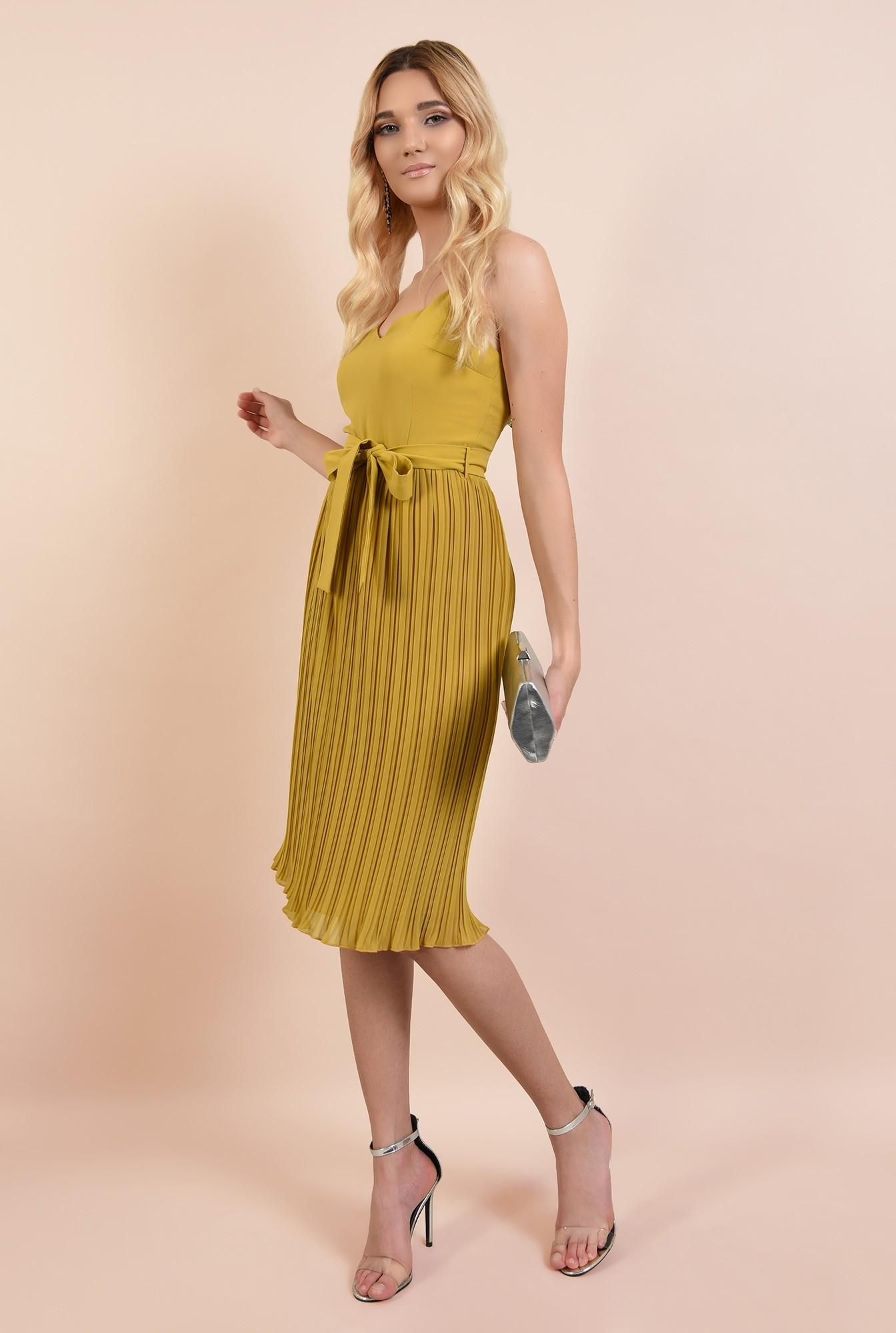 360 - rochie eleganta, mustar, cu bretele spaghetti, cordon in talie, fusta plisata