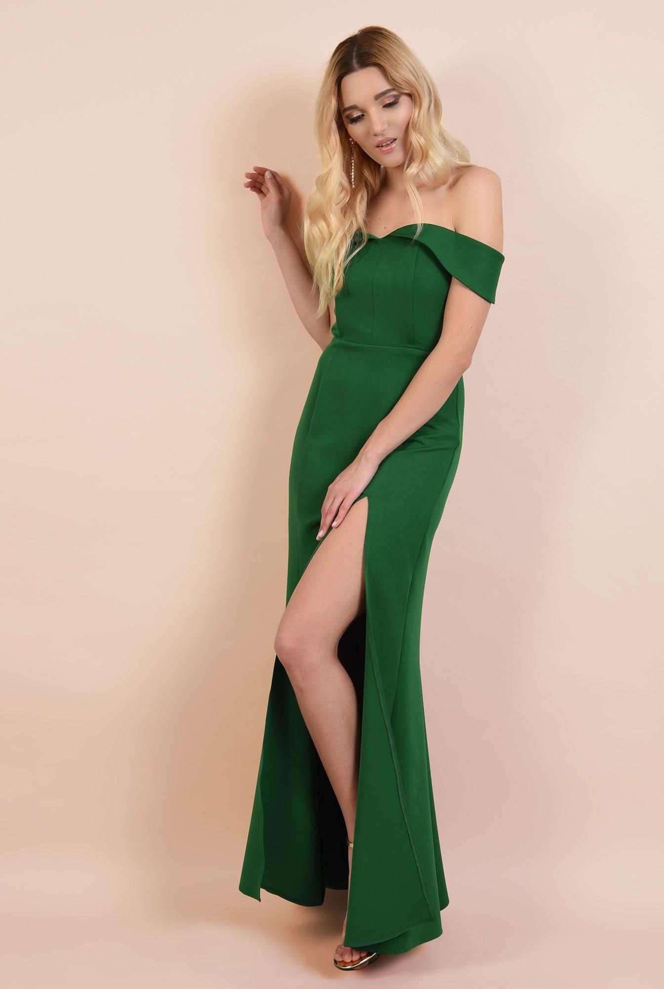 rochie de seara, cu crapeu, umeri goi, decoltata, verde, rochii online