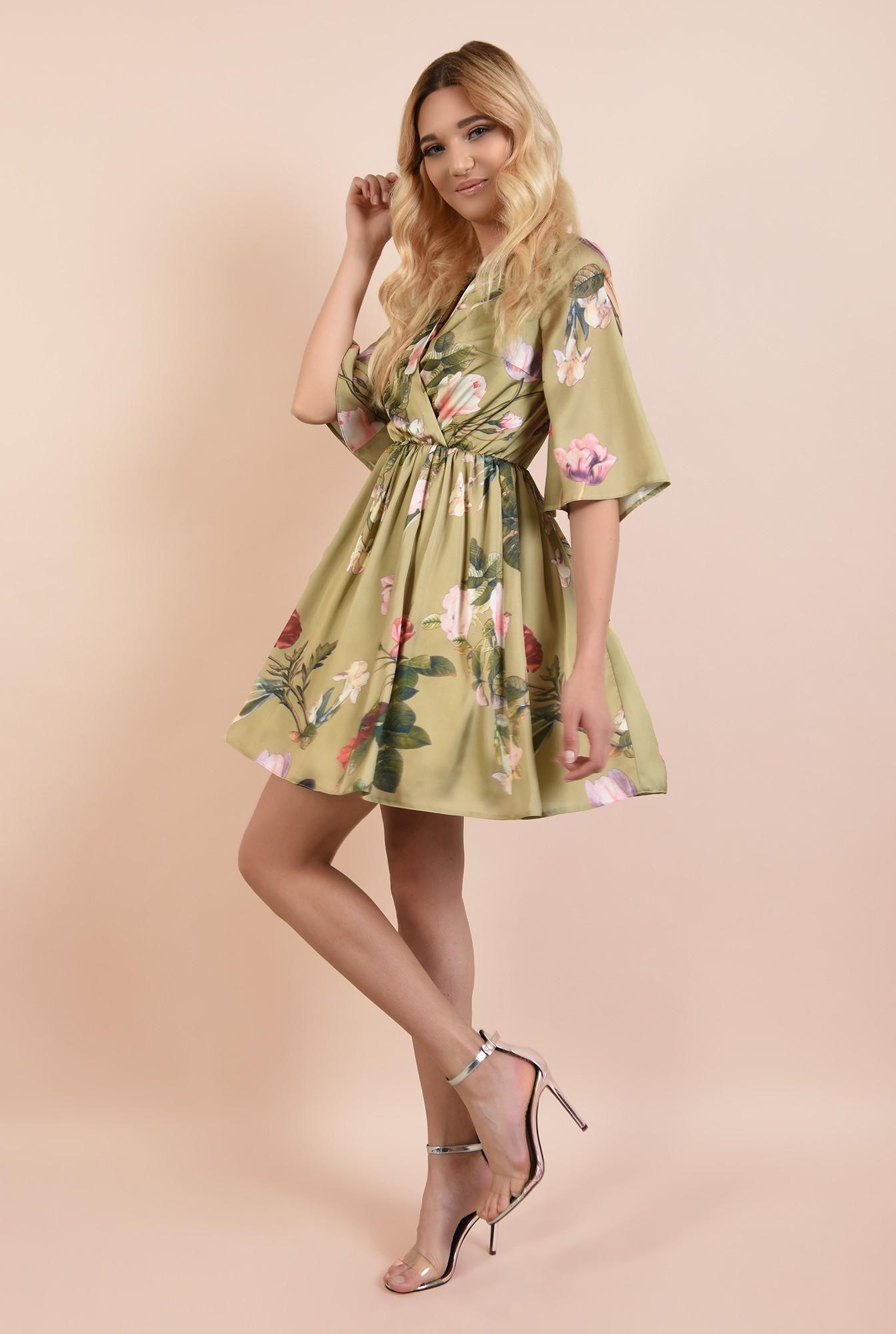 360 - rochie de ocazie, scurta, din satin, cu imprimeu floral, Poema