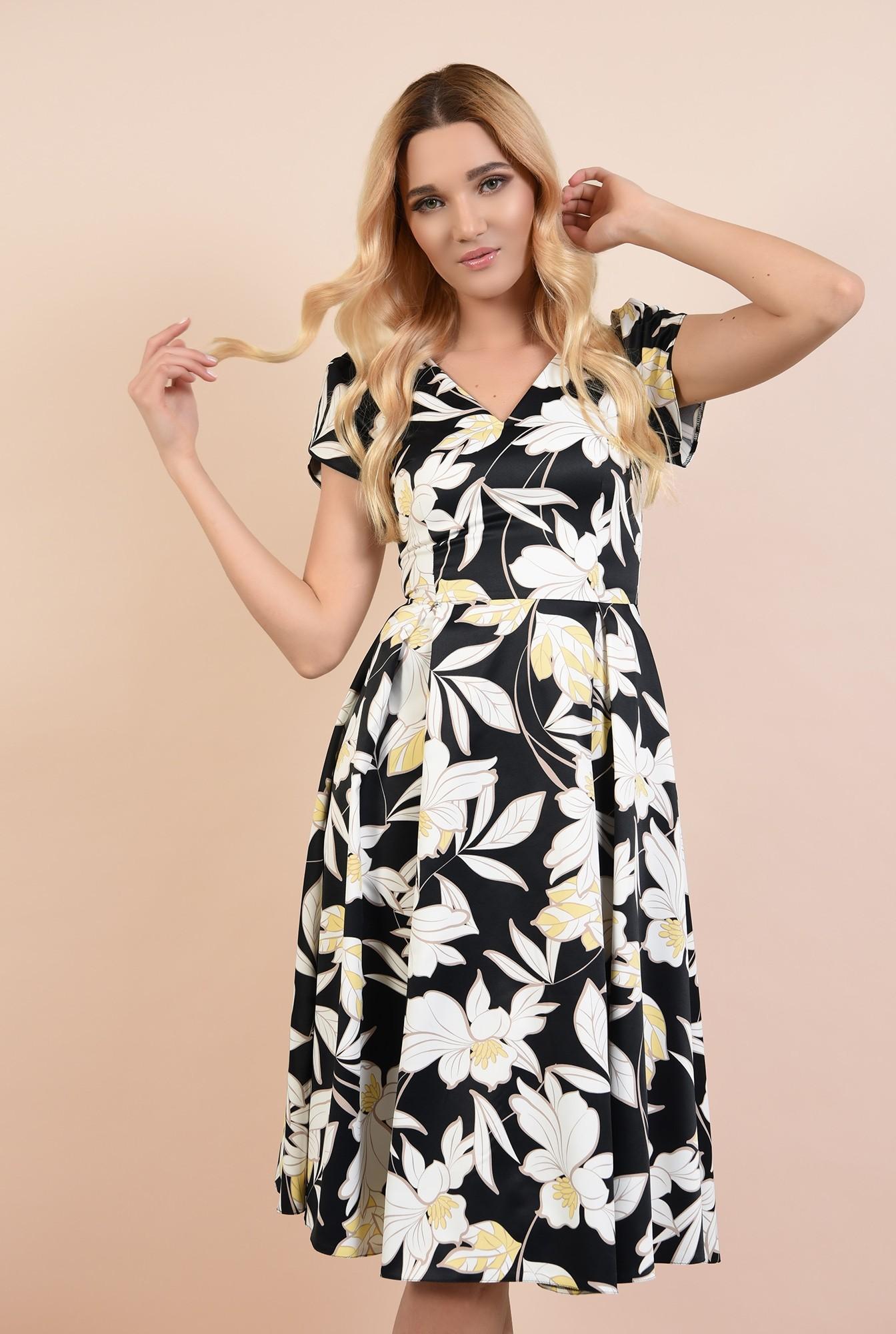 rochie de ocazie, cu motive florale, anchior, maneci bufante lalea