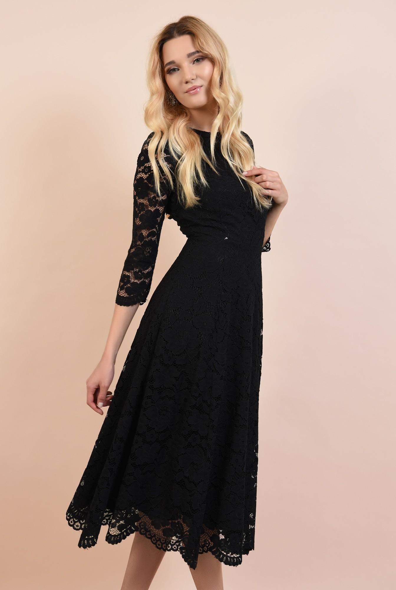 rochie neagra, de seara, midi, evazata, spate decoltat
