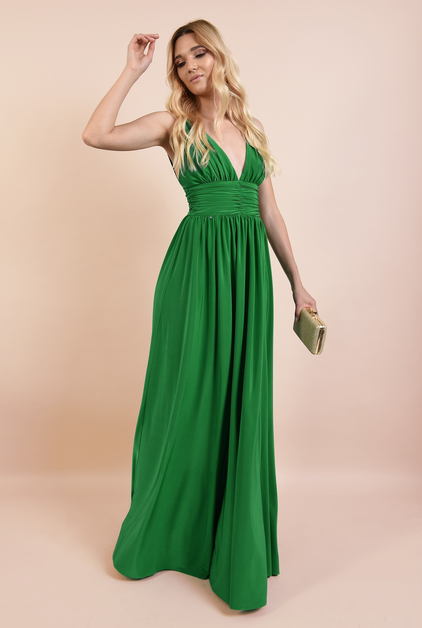 rochie de ocazie, verde, din lycra, cu anchior adanc, spate gol, Poema