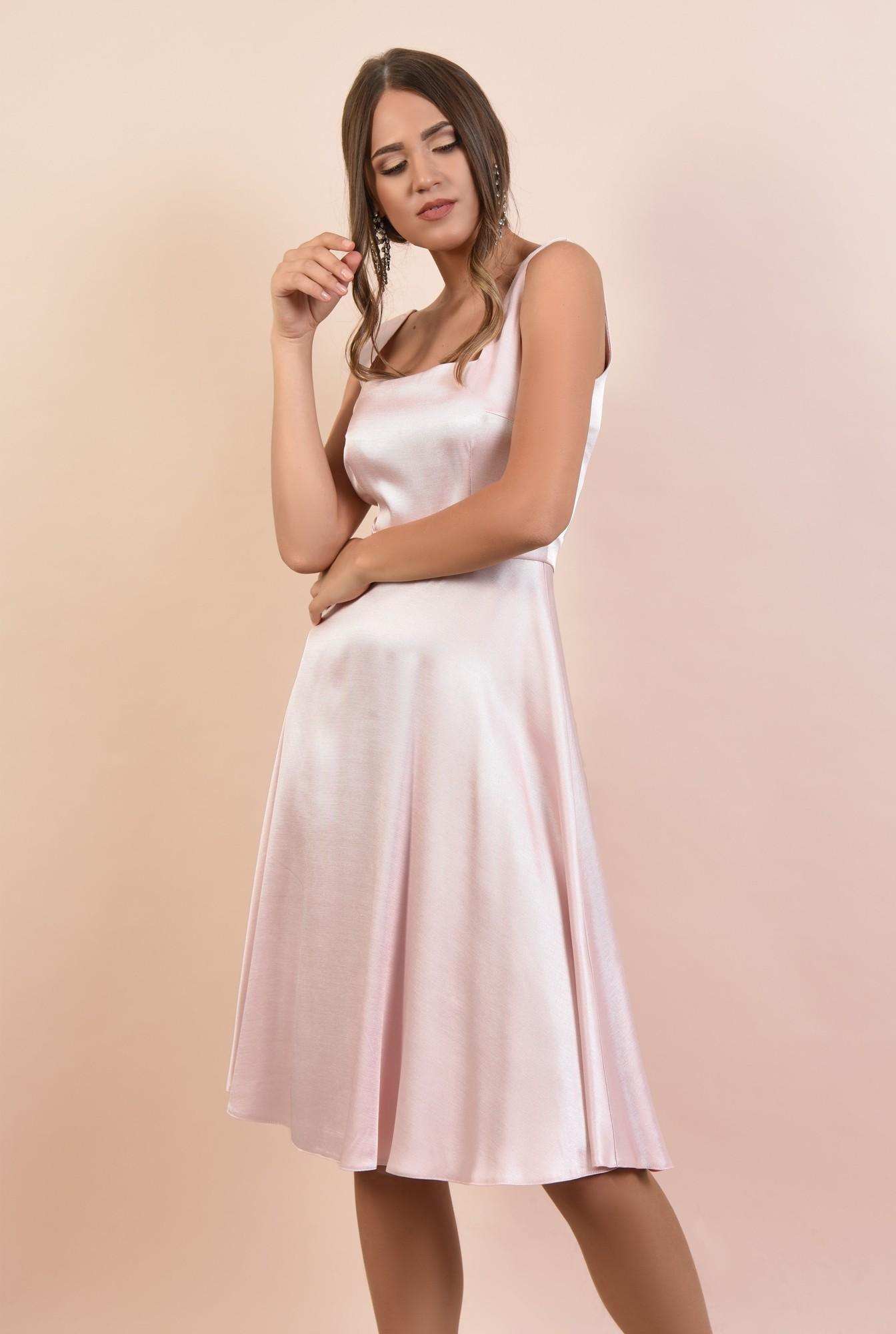 rochie eleganta, cu bretele, croi evazat, inchidere cu fermoar ascuns