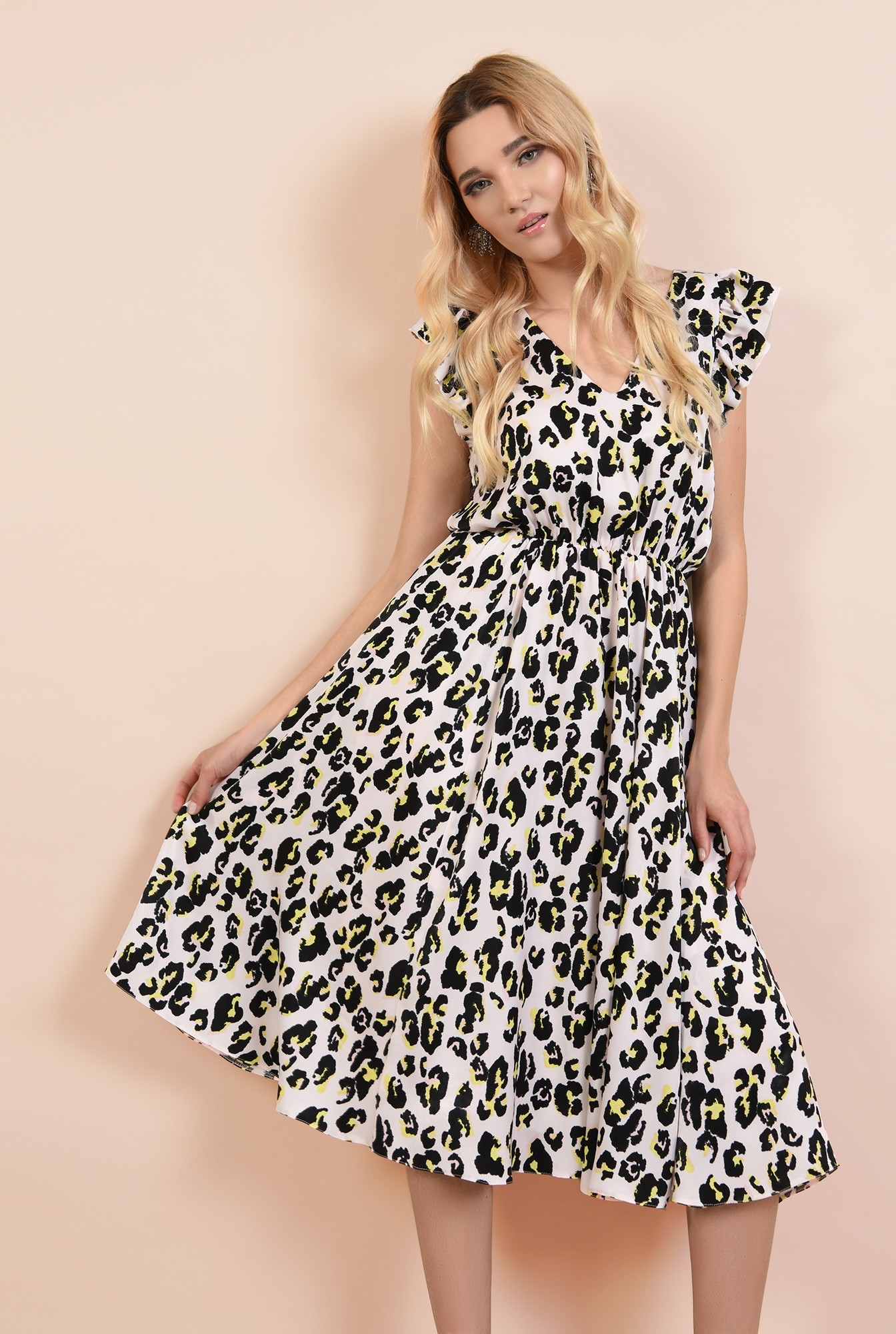 rochie eleganta, cu motive, talie pe elastic, spate decoltat, volane