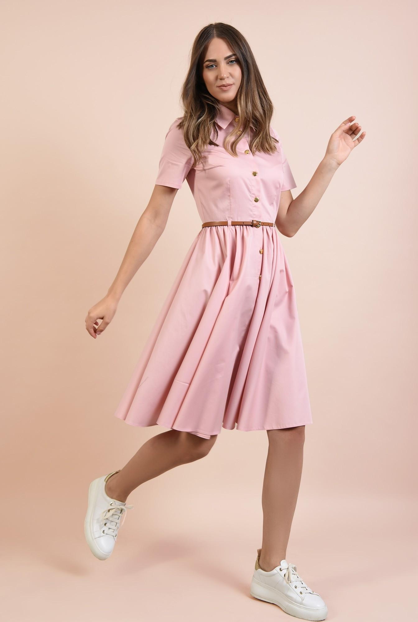 rochie casual, Poema, roz, din bumbac, nasturi, curea, cu guler