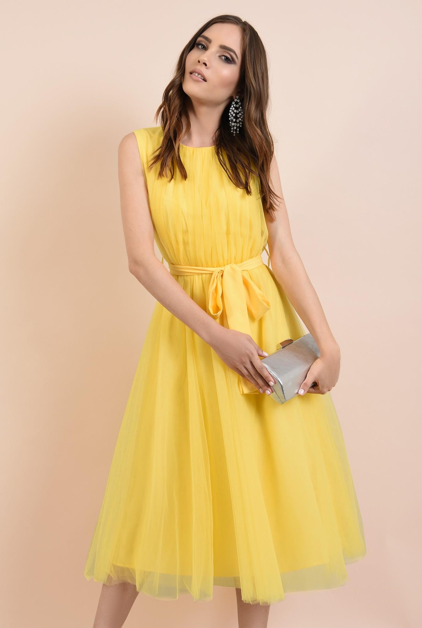 rochie de seara, din tul galben, funda la talie, Poema, croi clos