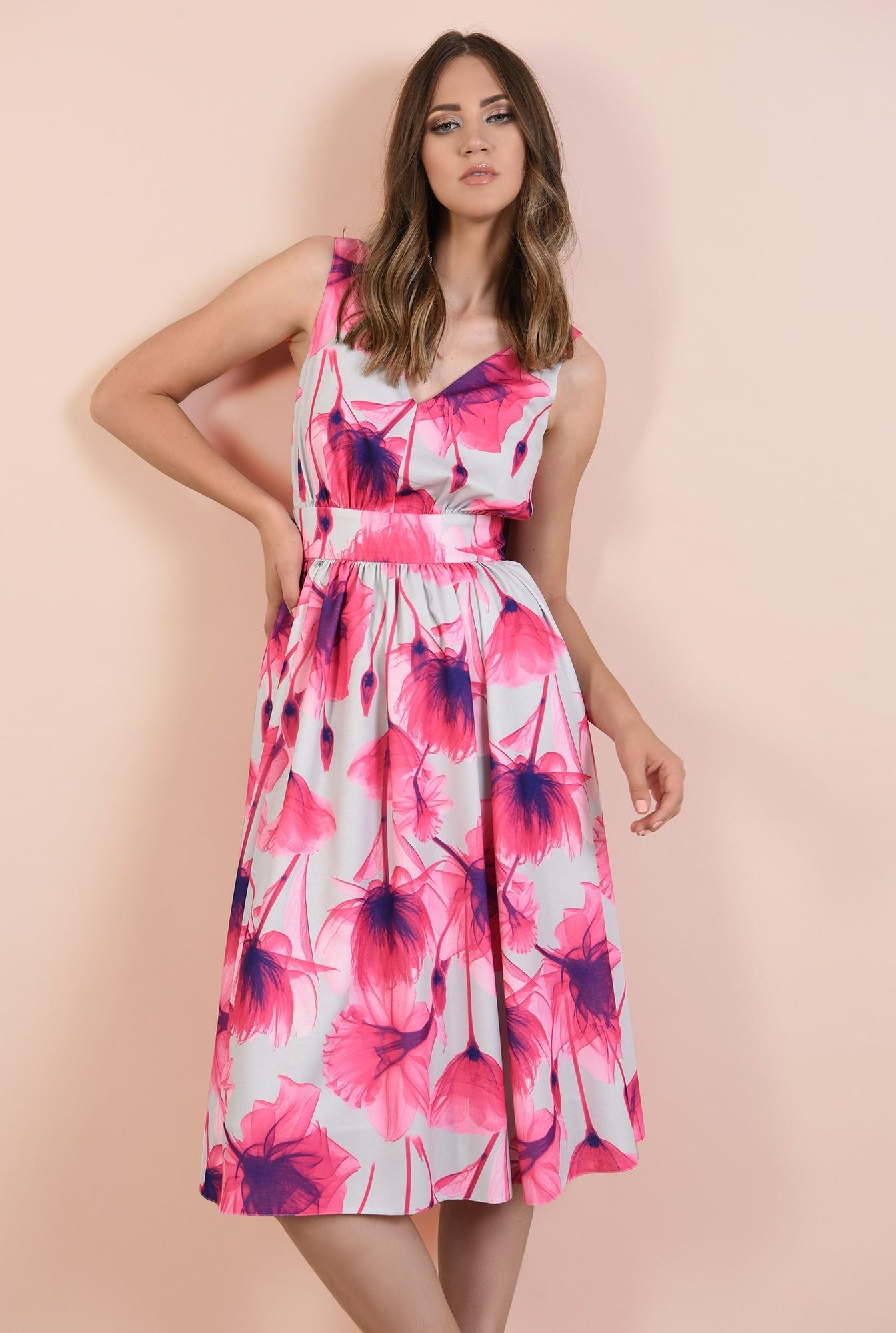 rochie eleganta, croi pe bie, decolteu in V, midi, evazata, cu flori