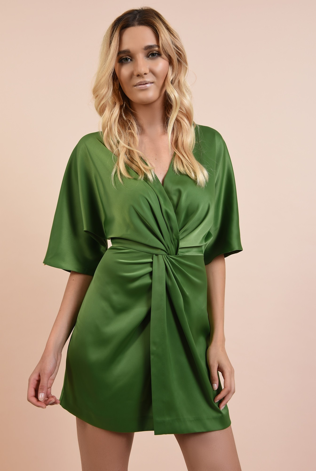 rochie eleganta, verde, din satin, anchior petrecut, talie drapata