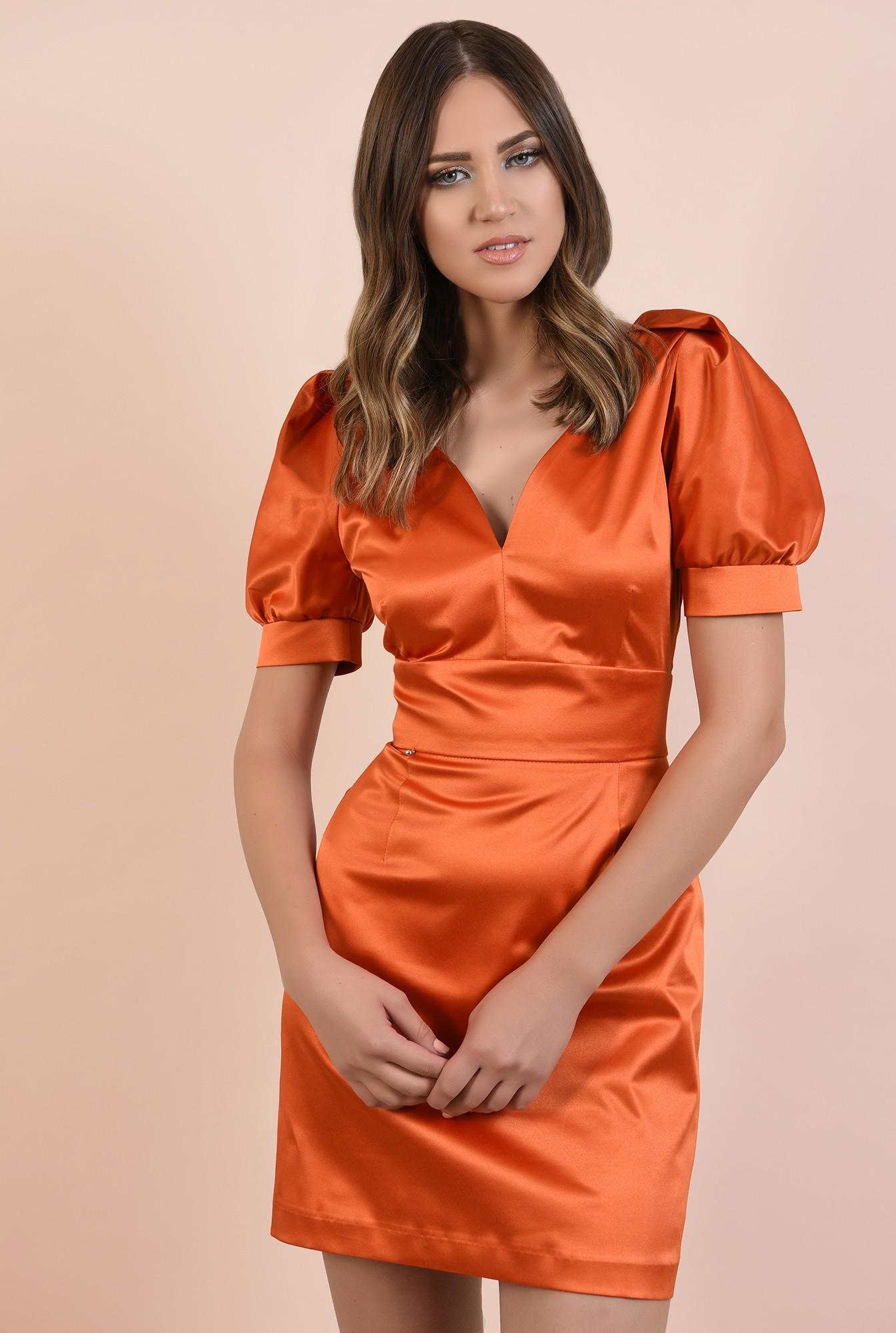 rochie de seara, orange, tafta de bumbac, maneci fantezie, lungime mini
