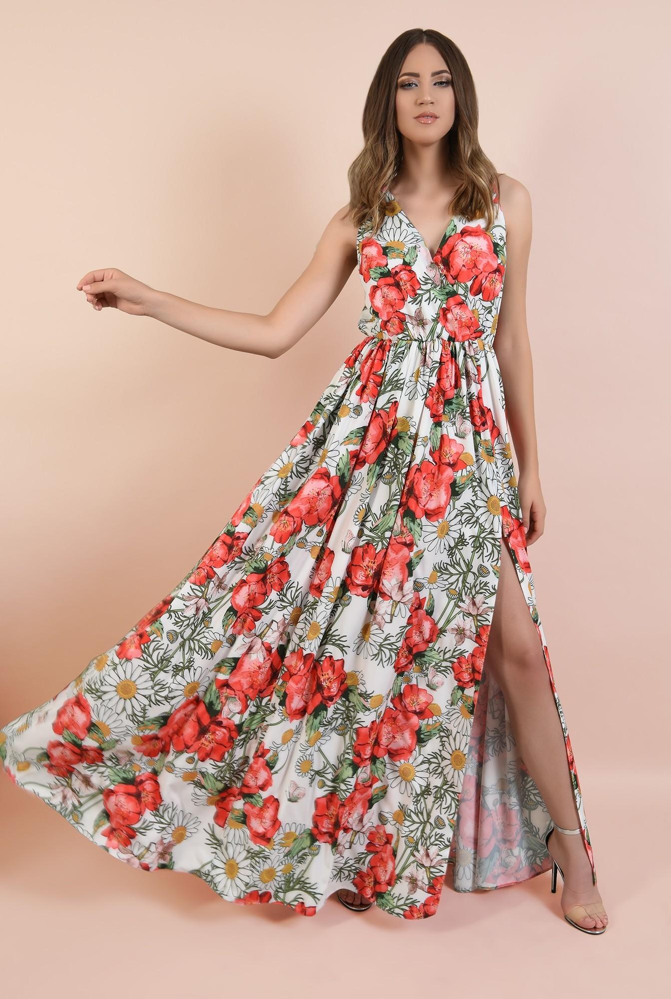 rochie de seara, cu crapeu, imprimeu floral, decolteu in V, Poema