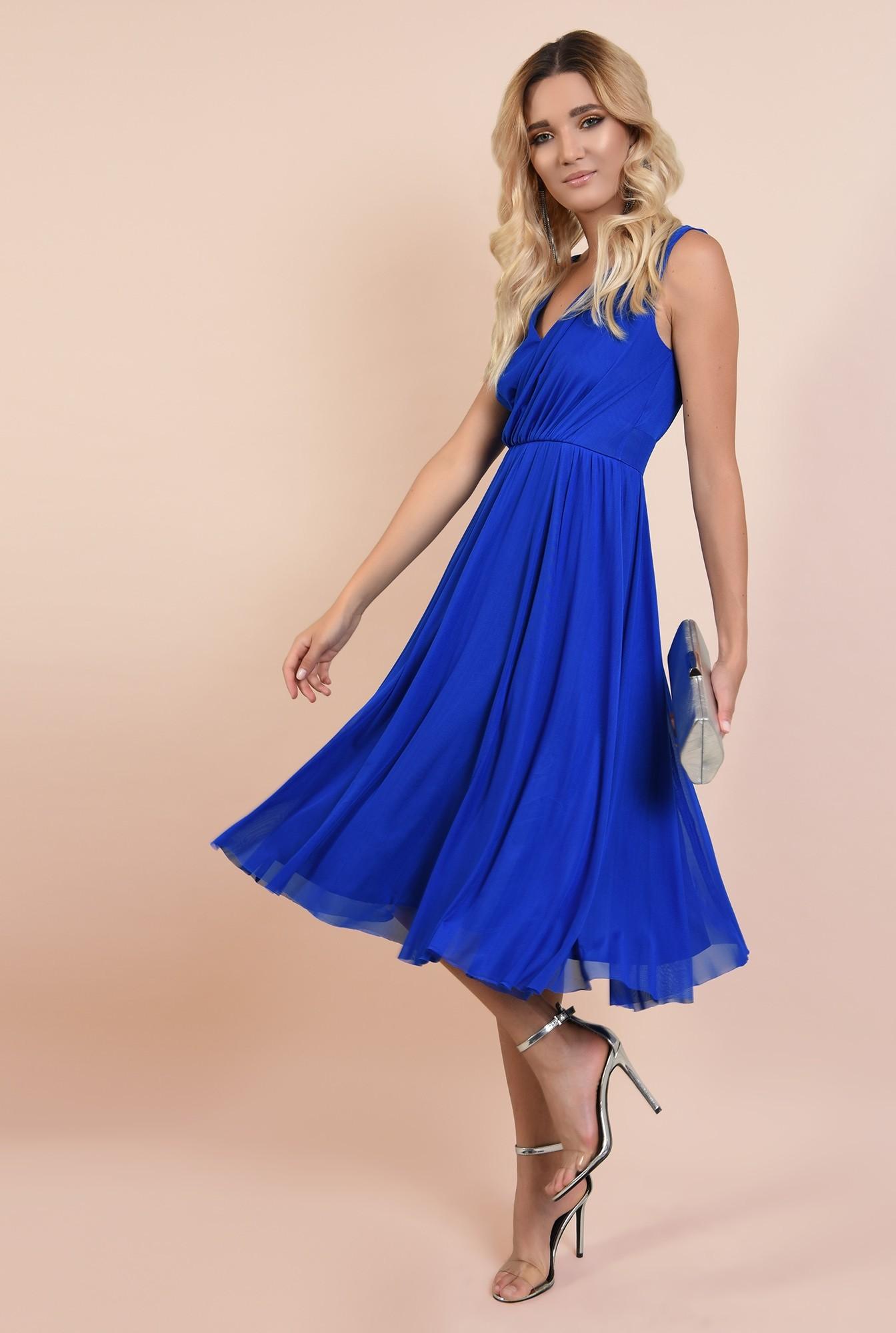 rochie de seara, albastra, tul, decolteu petrecut, Poema, clos