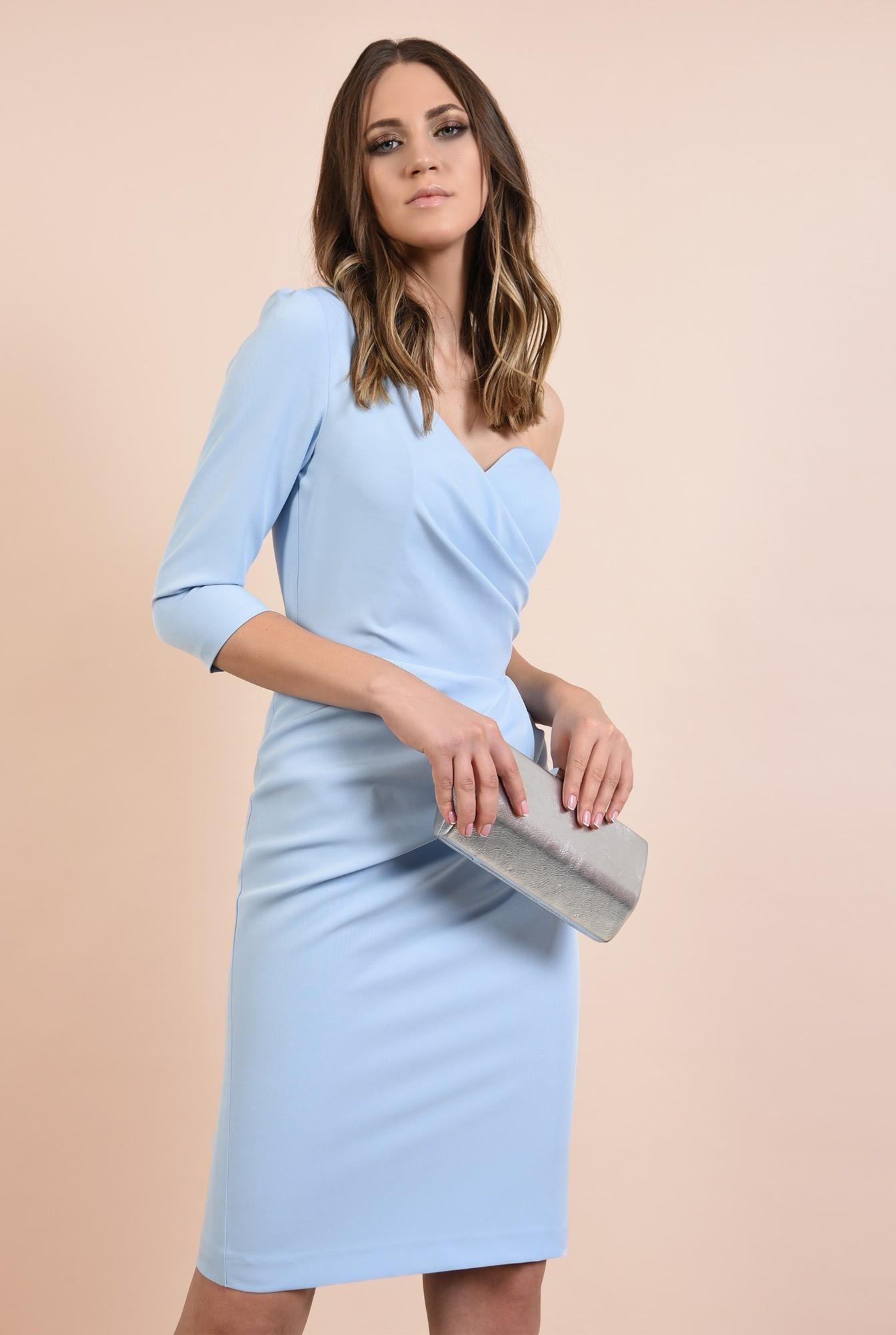 rochie eleganta, midi, bleu, corset, decolteu de inima, conica
