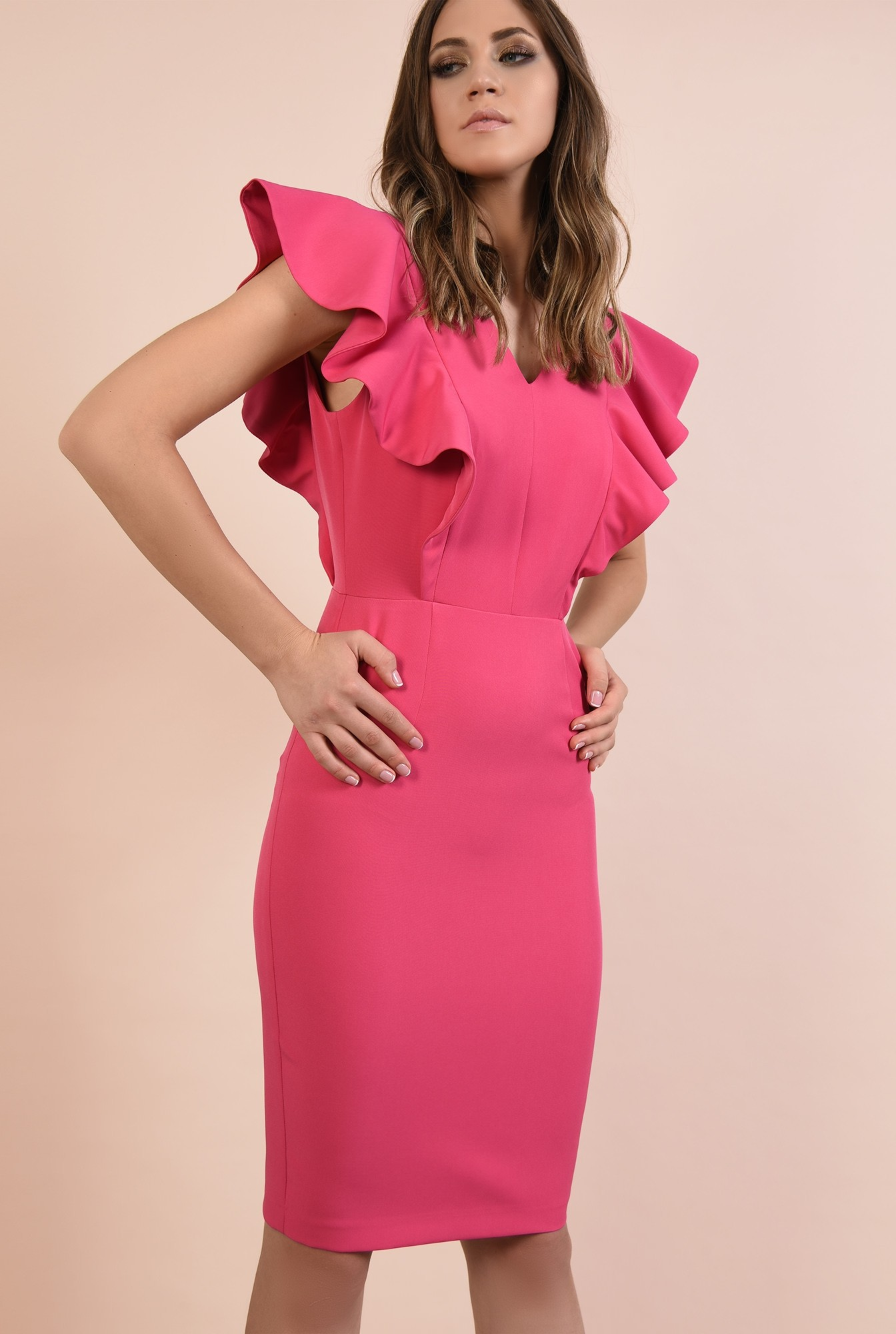 rochie eleganta, ciclamen. midi, conica, decolteu anchior