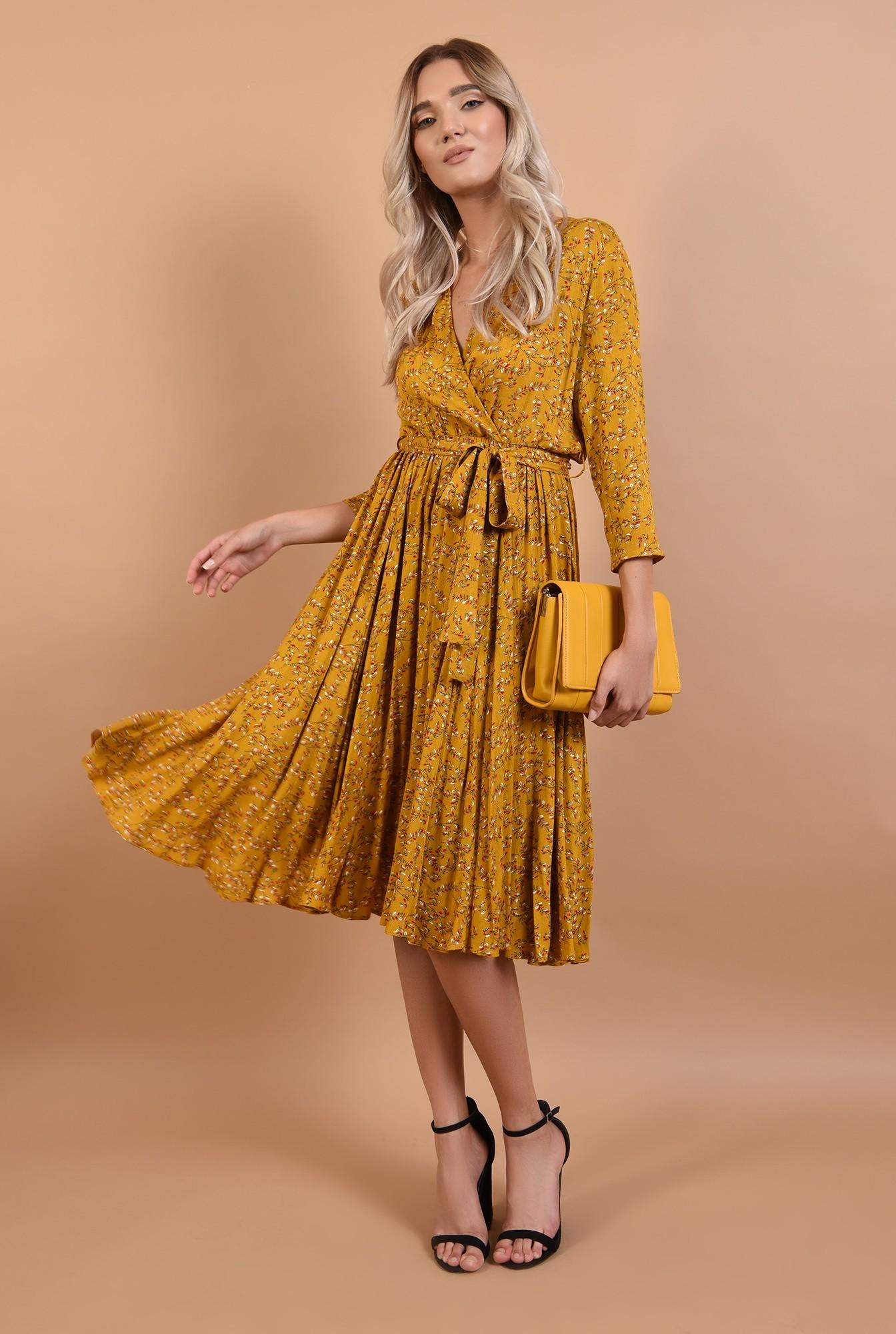 360 - rochie de toamna, imprimeu floral, mustar, cu cordon, decolteu in V