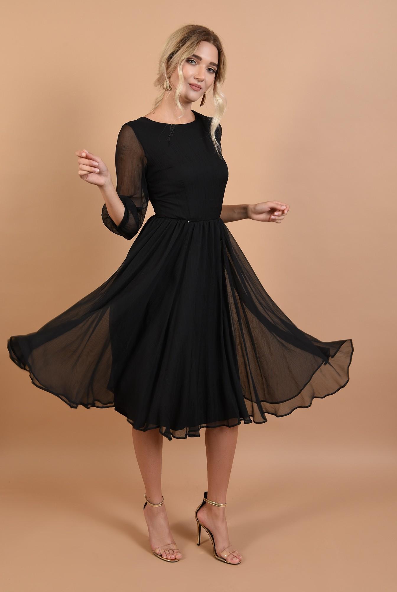 rochie de ocazie, neagra, decolteu la baza gatului, croi evazat, maneci bufante, Poema