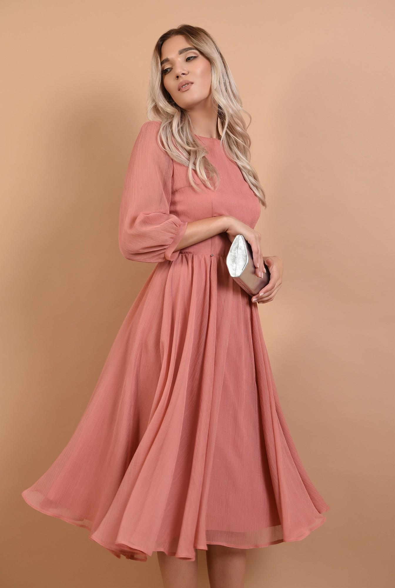 rochie roz, de ocazie, midi, decolteu la baza gatului