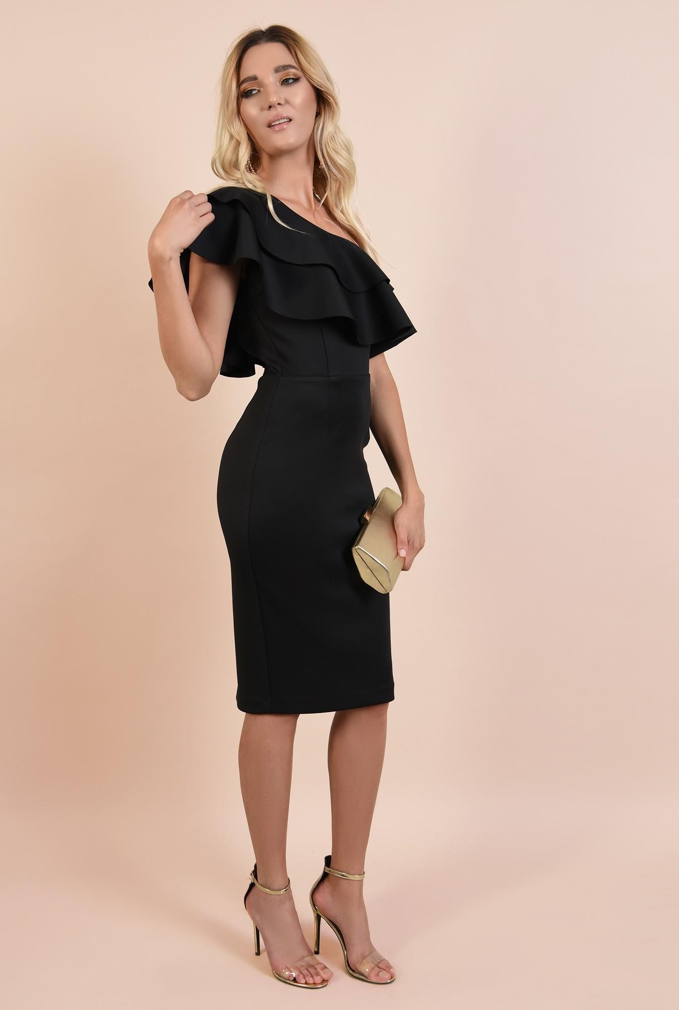 rochie eleganta, midi, neagra, conica, volane nefinisate