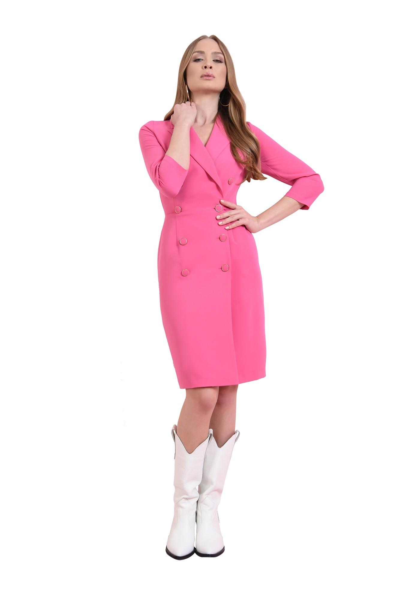 rochie midi, roz, cu nasturi