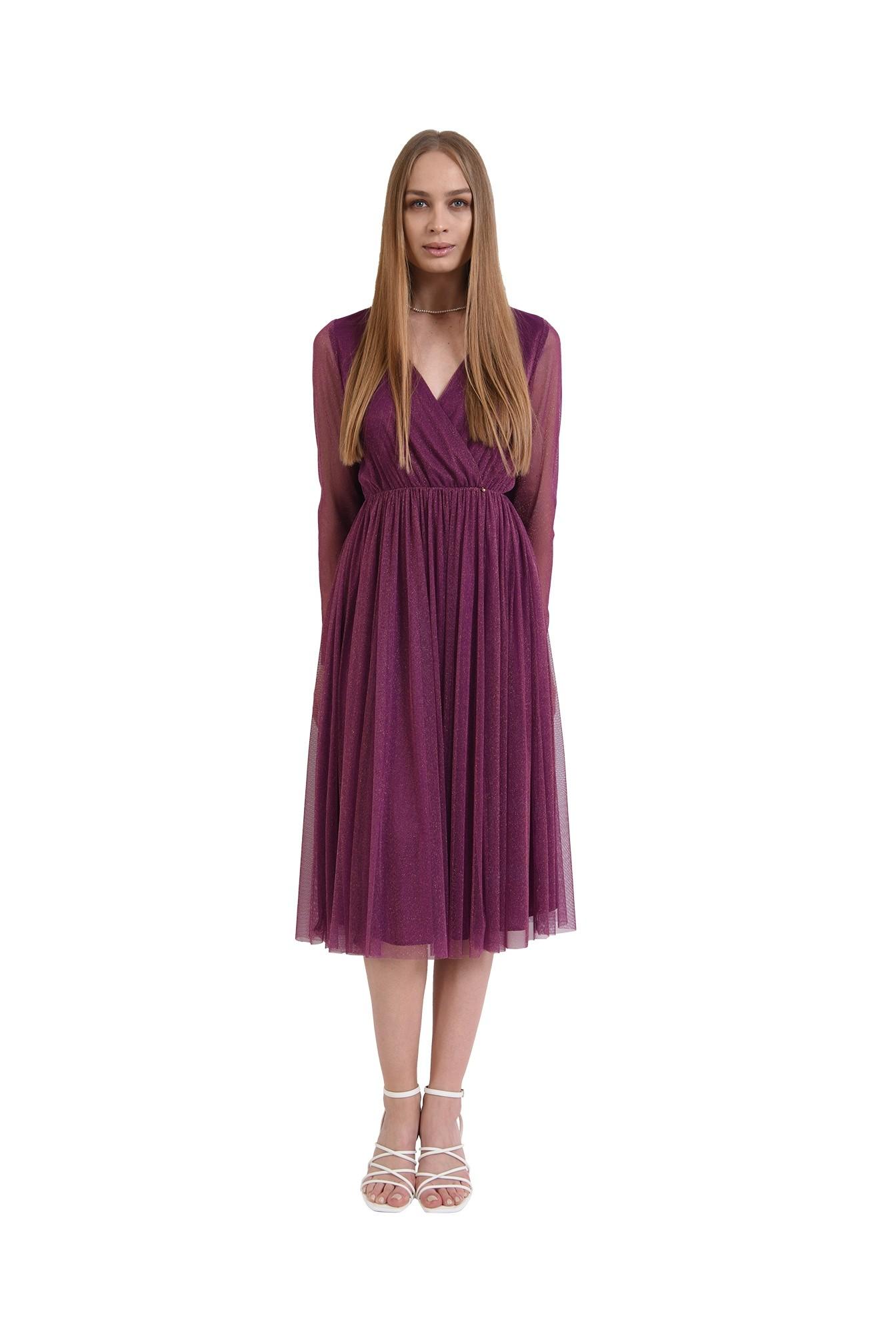 rochie midi, din tul, cu maneci lungi, anchior petrecut, mov