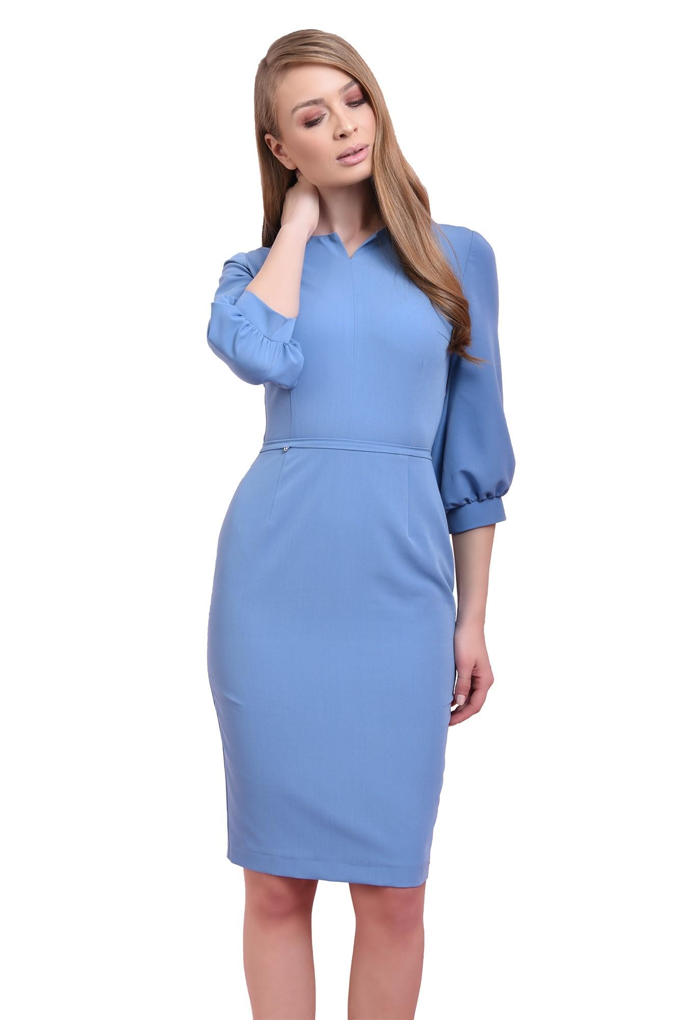 rochie midi, bleu, cu maneca bufanta