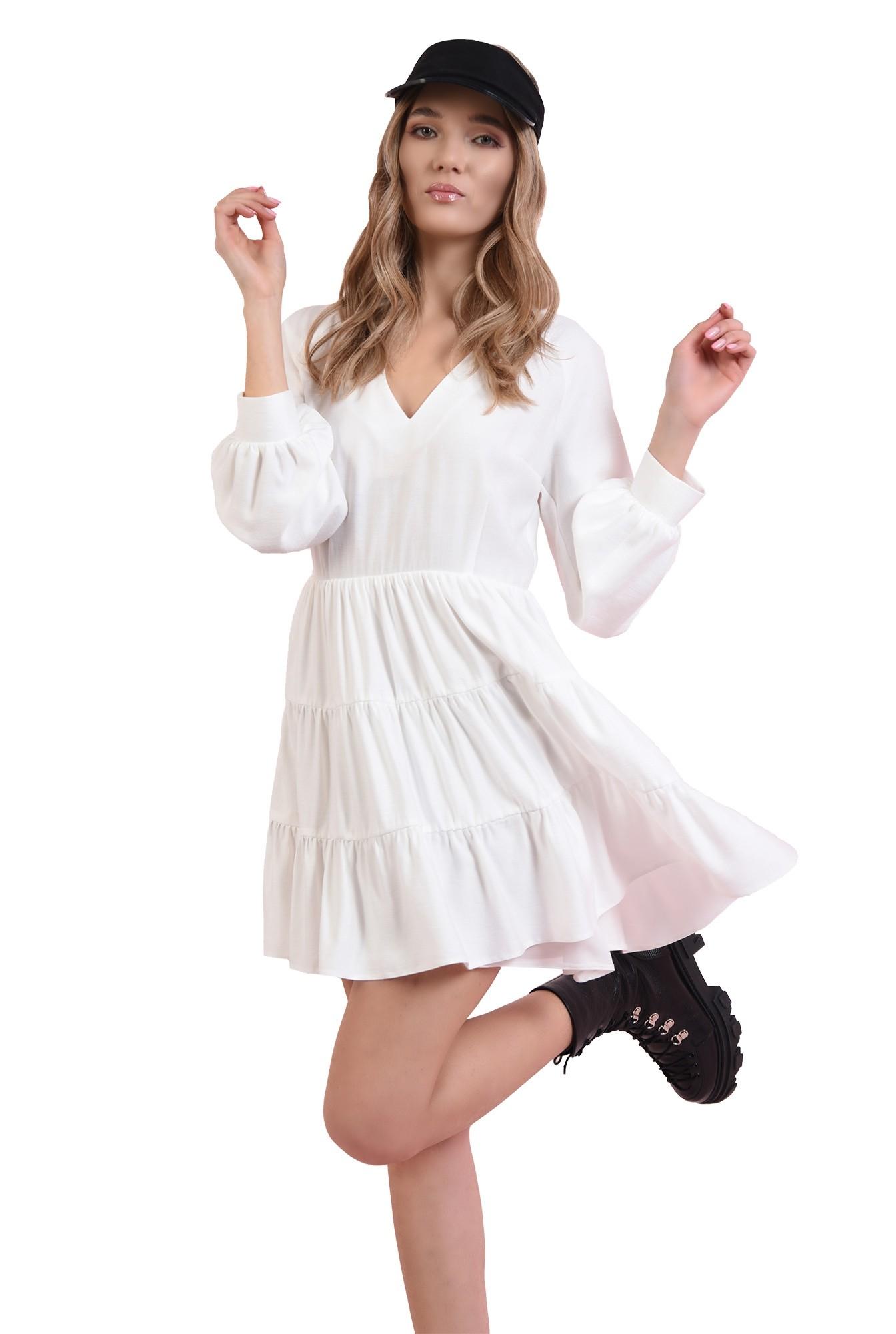 rochie cu panouri, evazata, cu decolteu in V
