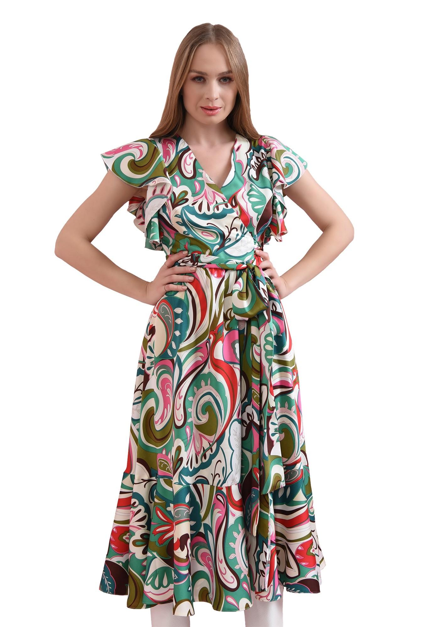 rochie cu print multicolor, petrecuta
