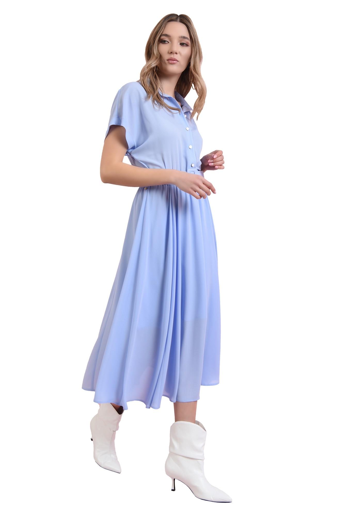 360 - rochie midi, bleu, 3/4, maneci raglan, centura