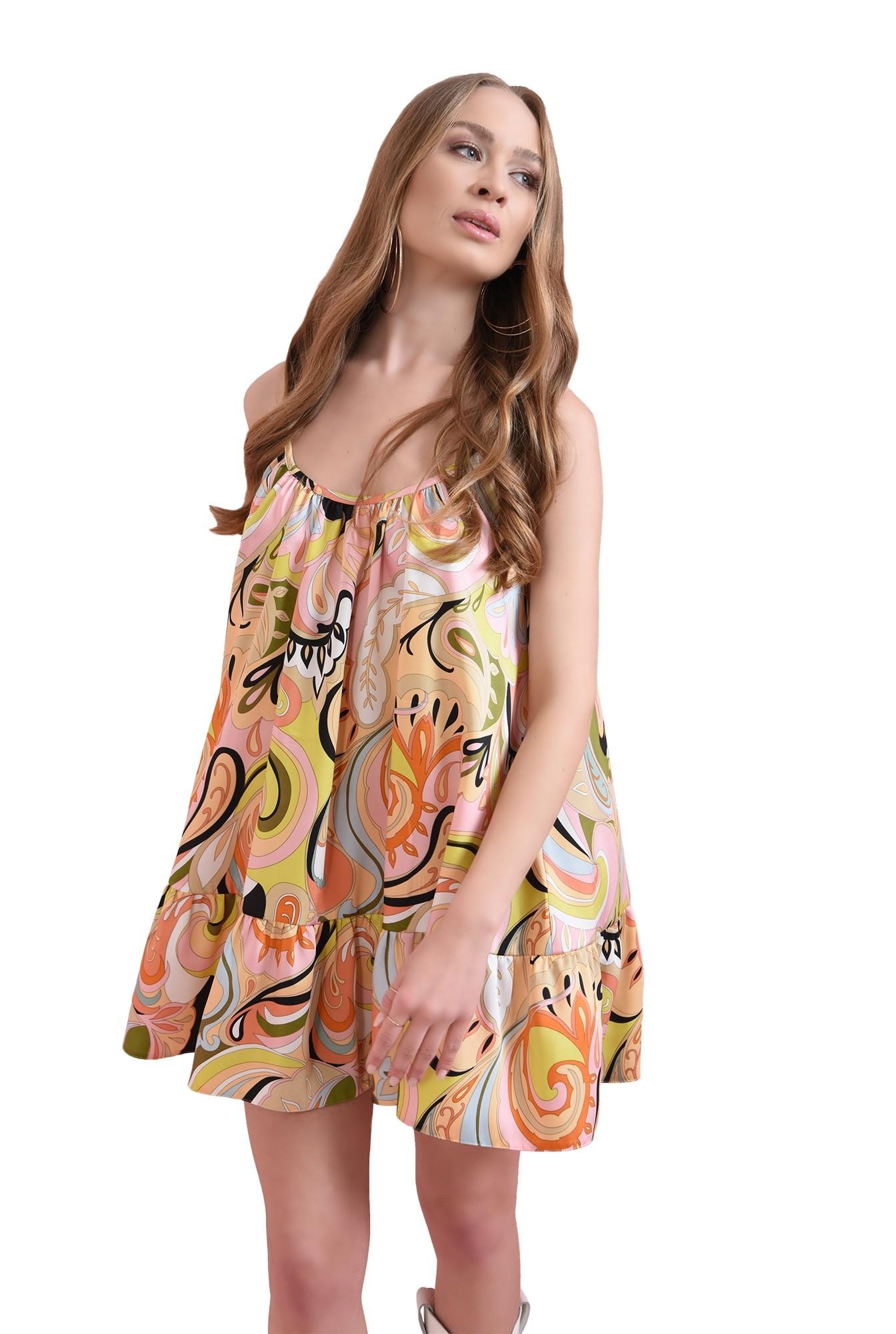 rochie din satin, cu volan, cu print