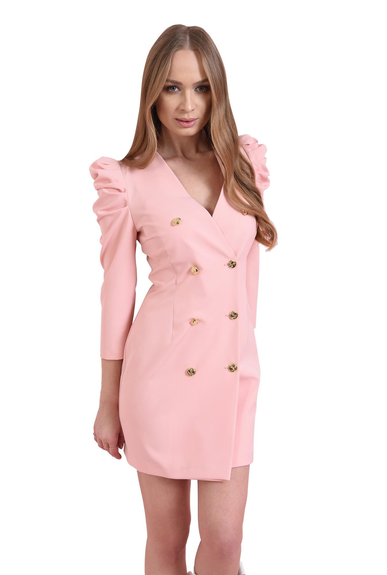 rochie roz, scurta, cu revere