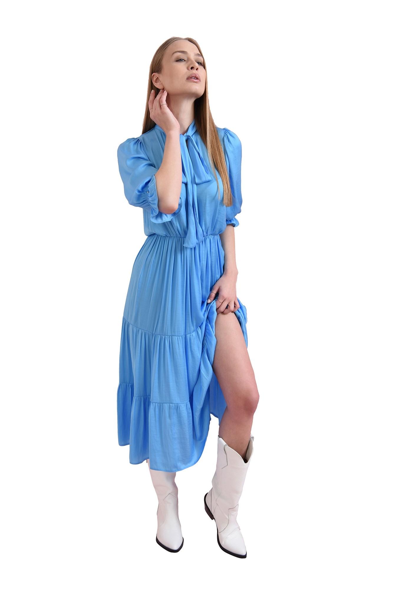 rochie evazata, bleu, Poema