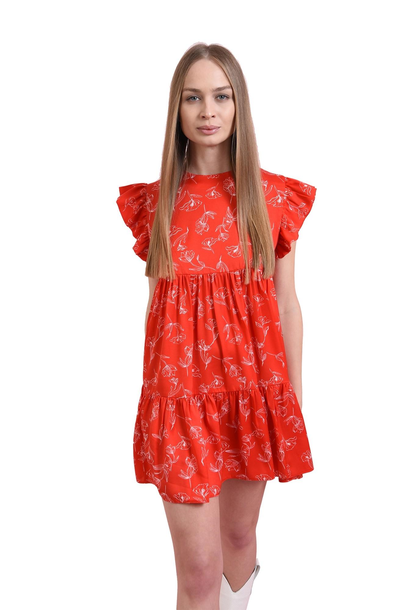 rochie rosie, scurta, cu print