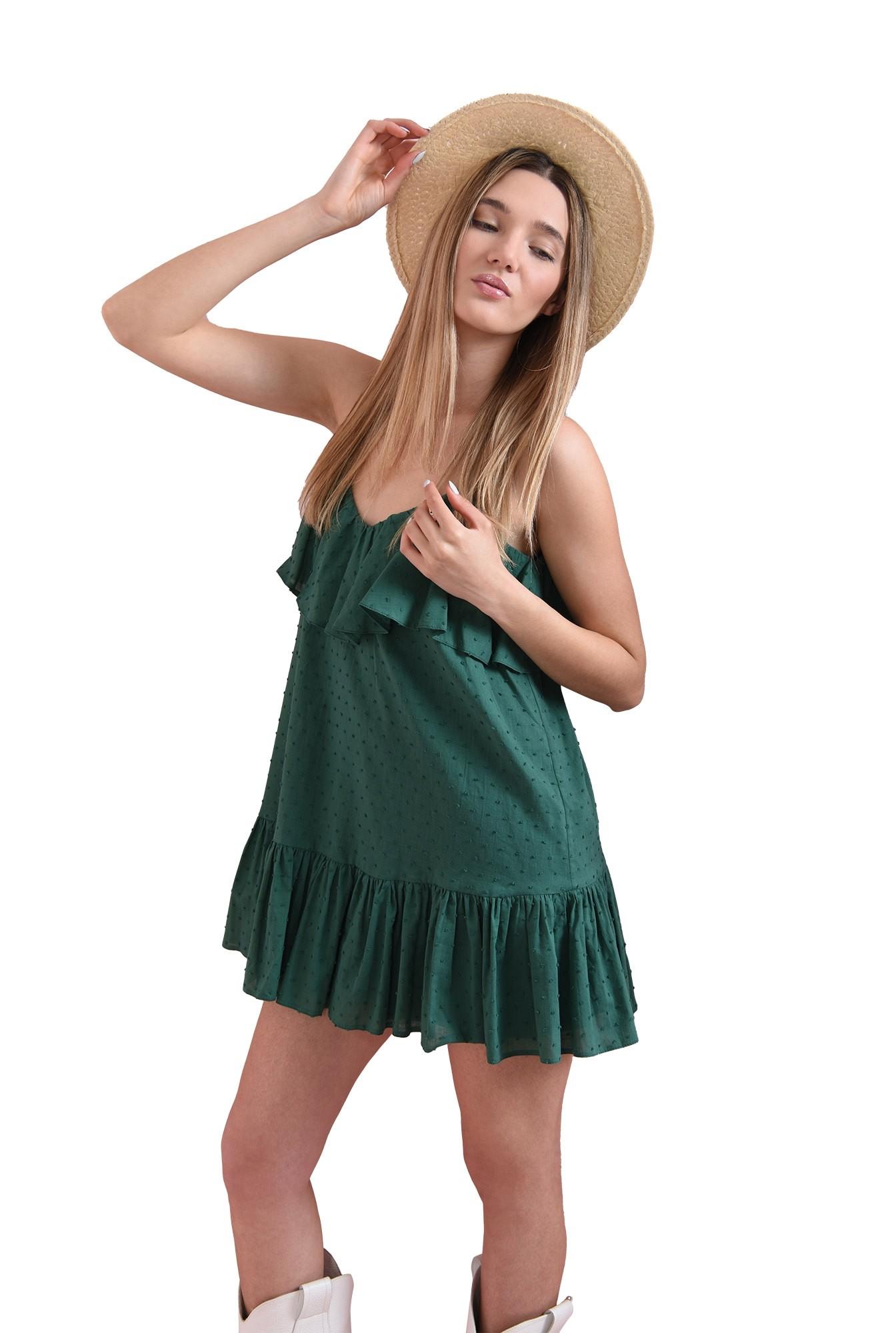 rochie din bumbac, cu plumeti