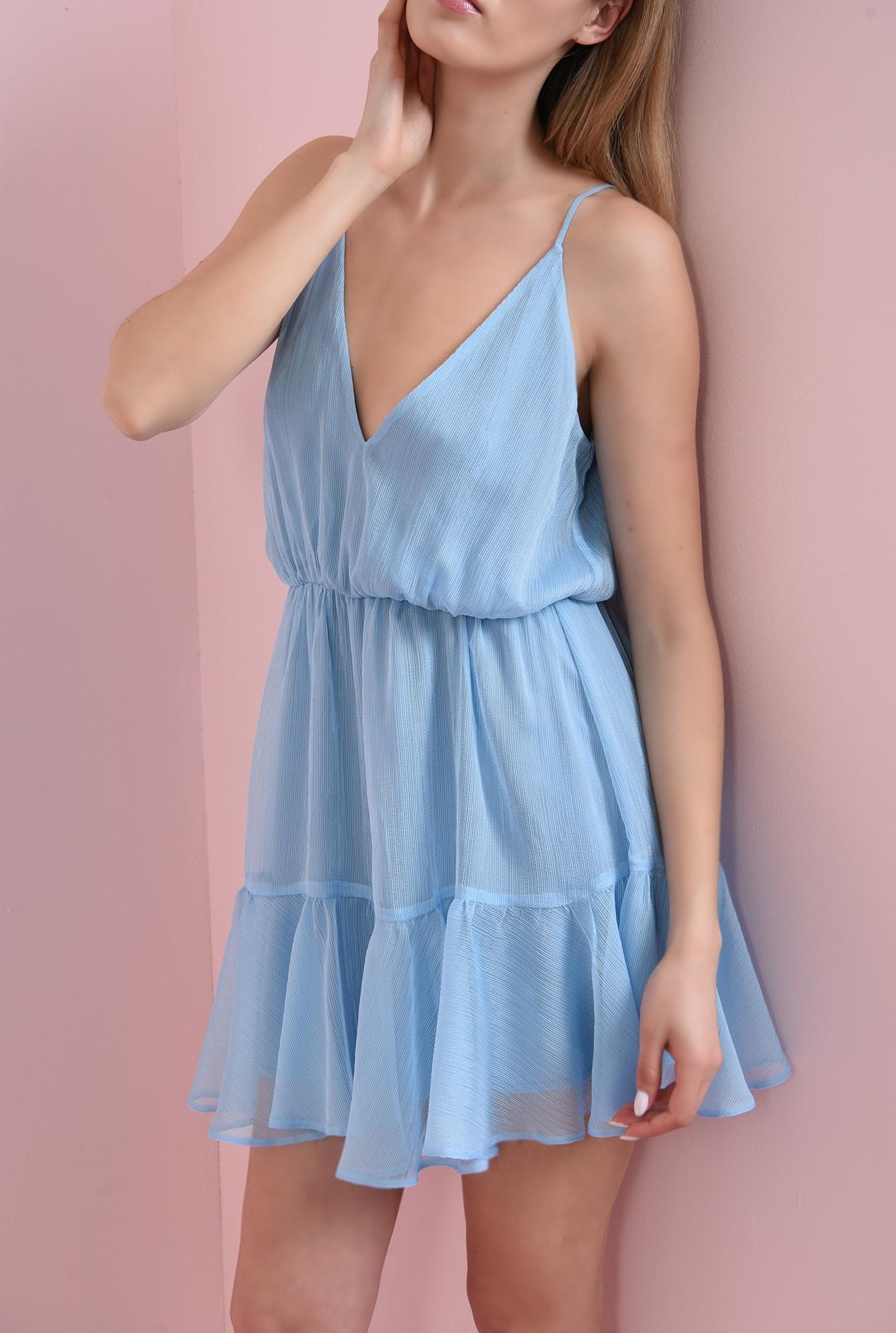360 - rochie bleu, cu bretele, stransa la talie