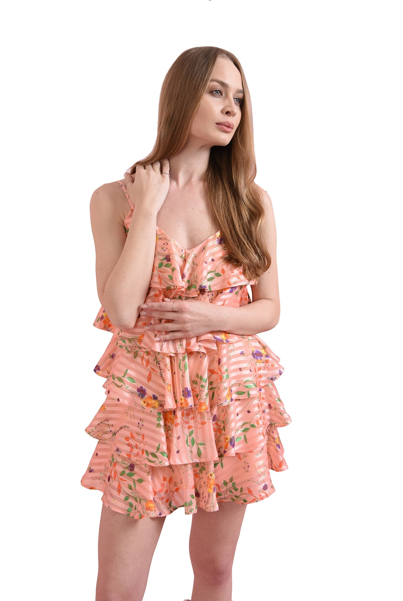 rochie roz, cu volane, cu bretele, Poema