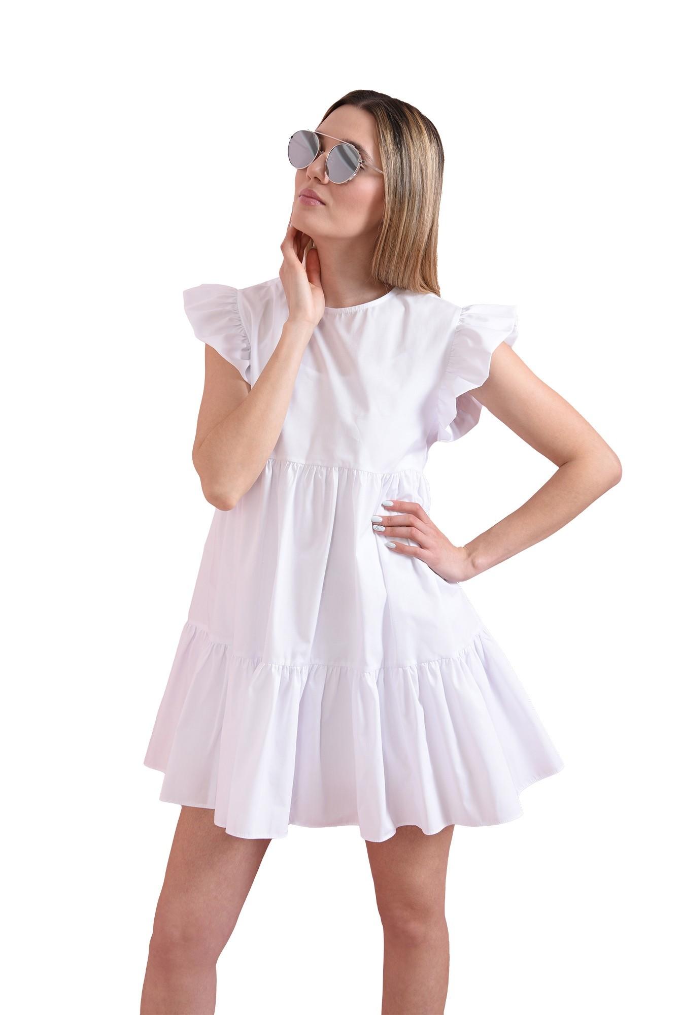rochie scurta, alba, din bumbac