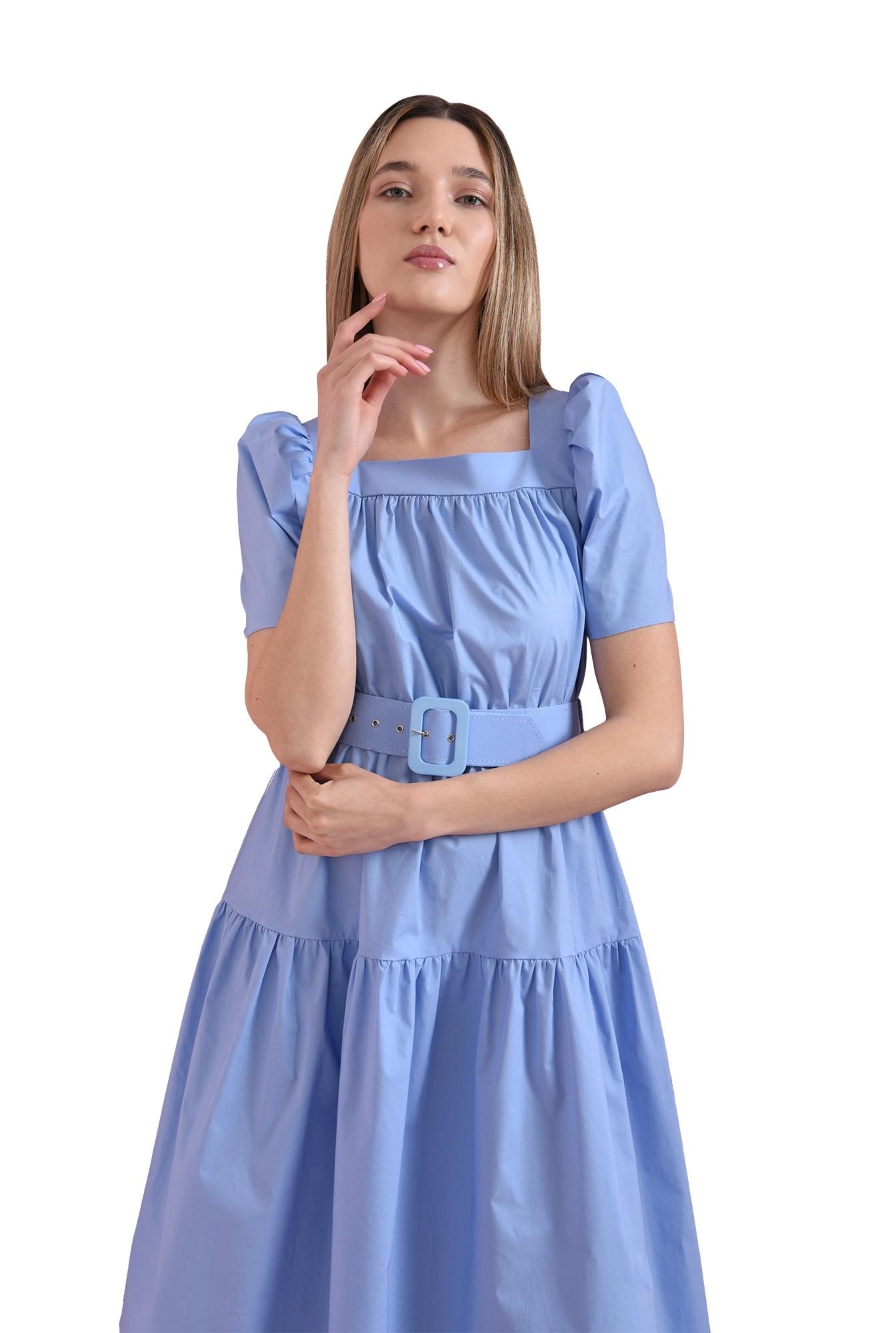 rochie din bumbac, bleu, Poema