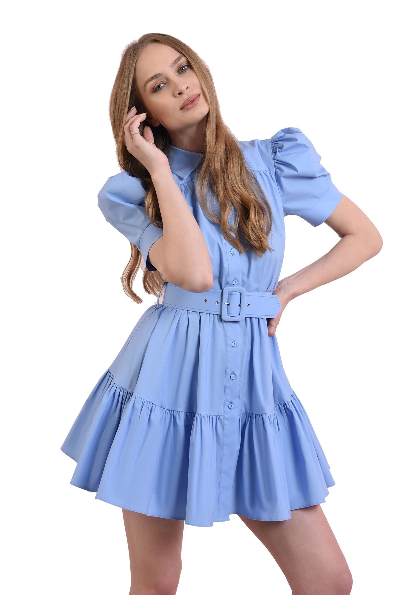 rochie evazata, cu centura, cu maneca voluminoasa