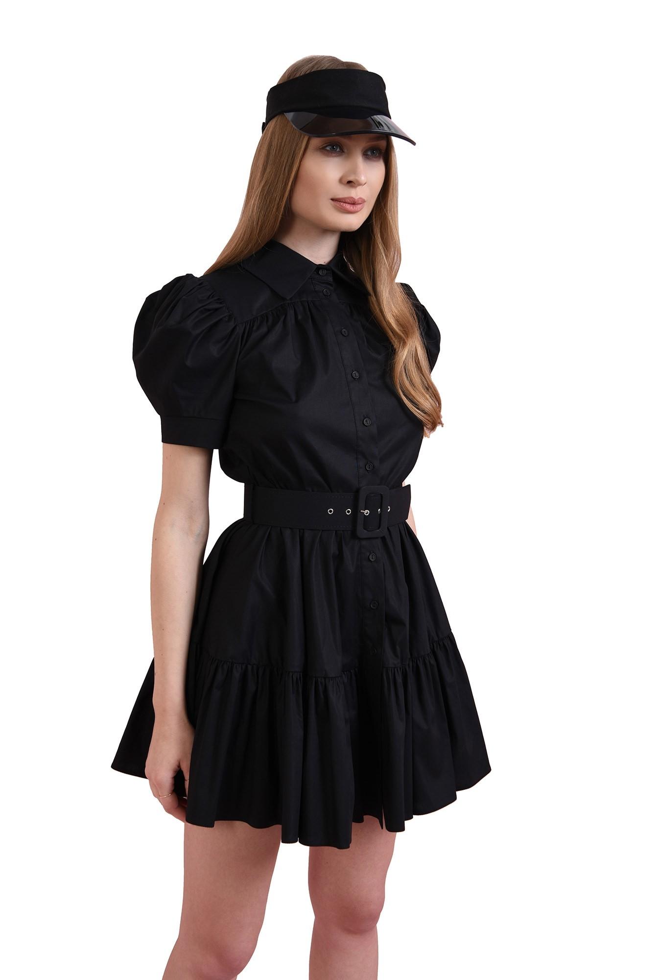 rochie cu maneca bufanta, cu centura