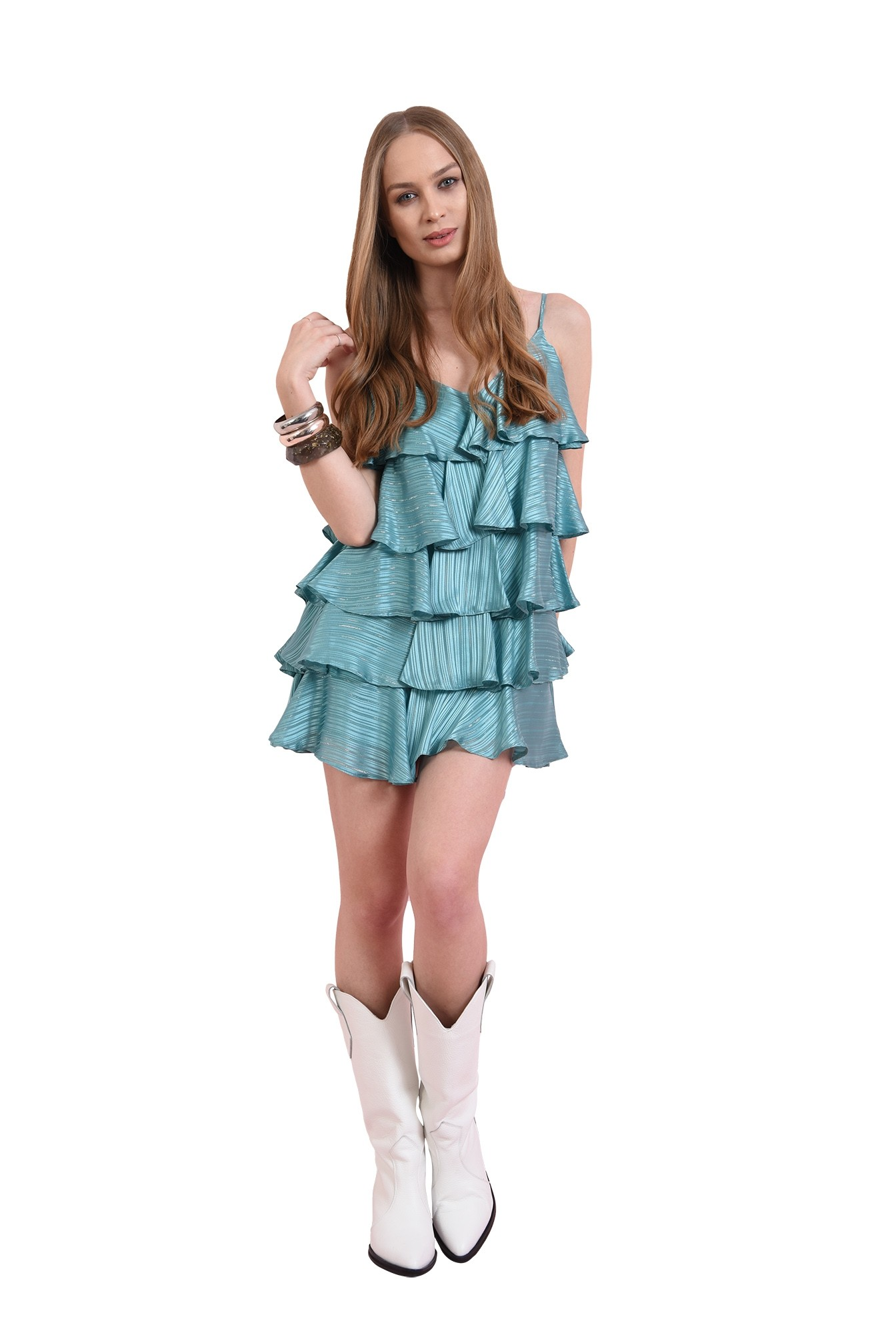 rochie mini, cu volane multiple